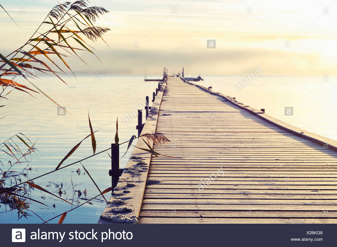 View over waterscape and jetty - Stock Image