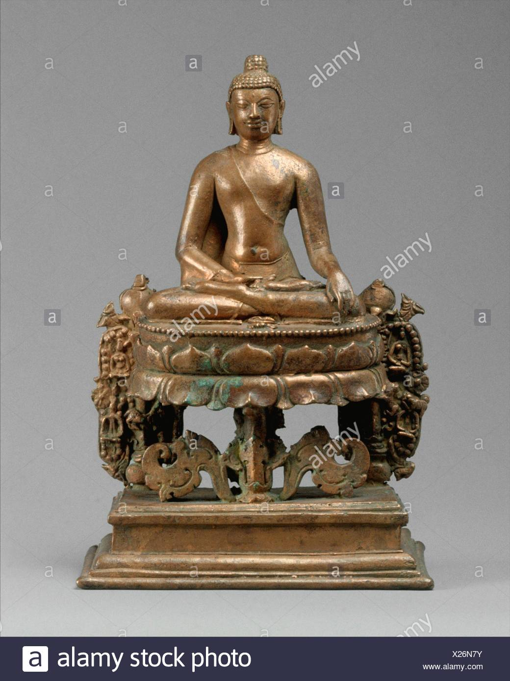 Lotus-Enthroned Buddha Akshobhya, the Transcendent Buddha. Period: Pala period; Date: 8th-early 9th century; Culture: Bangladesh (Comilla District); - Stock Image