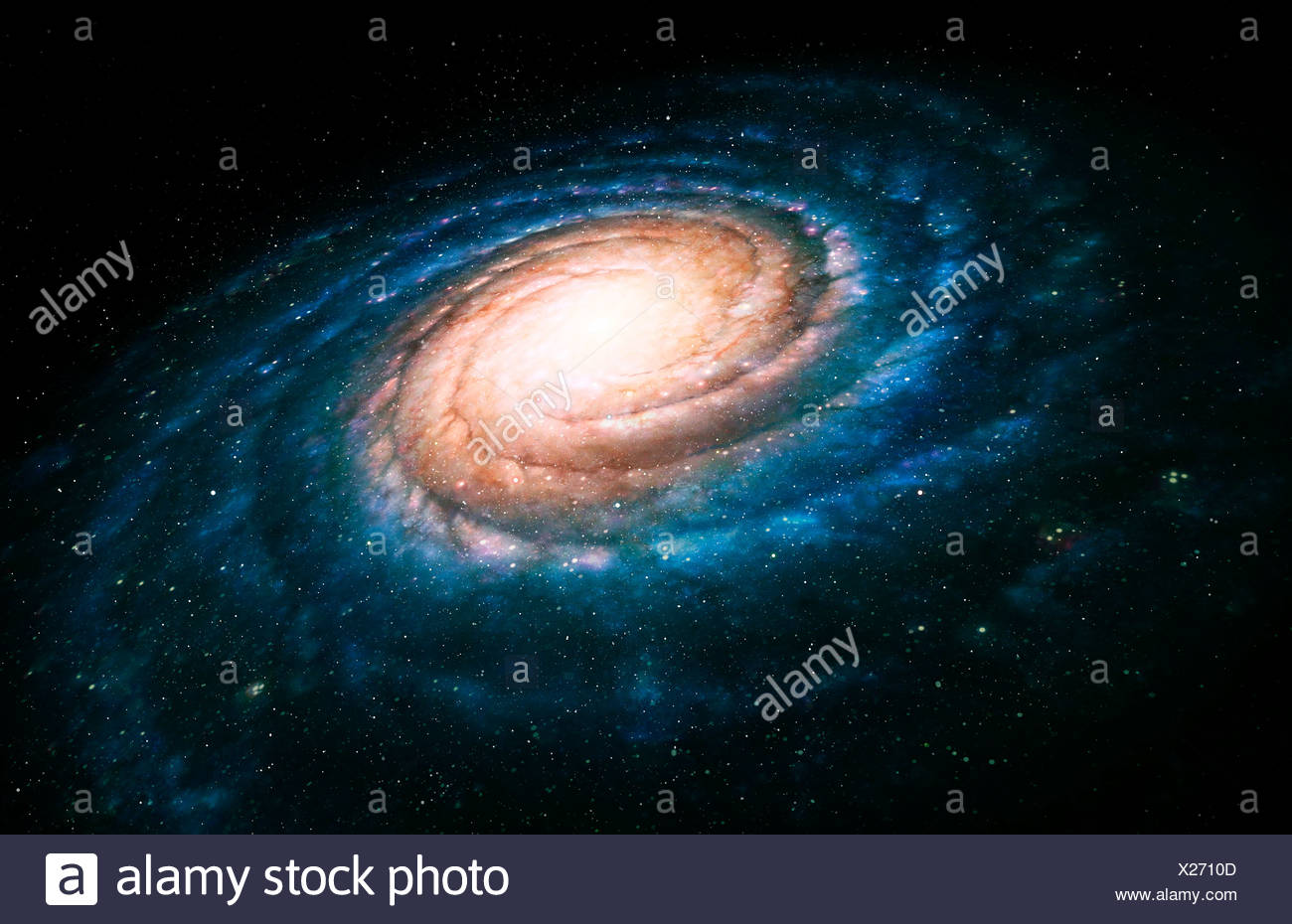Spiral galaxy. Artwork of a spiral galaxy seen atan oblique angle. The spiral arms (blue) containhot, young stars. Stock Photo