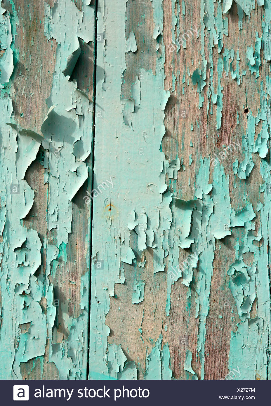 TURQUOISE PEELING PAINT ON WOOD BACKGROUND - Stock Image