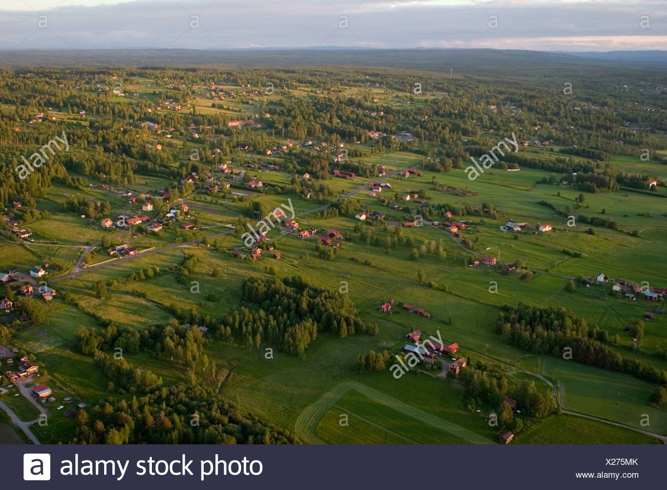 Arable land, aerial view, Sweden. - Stock Image