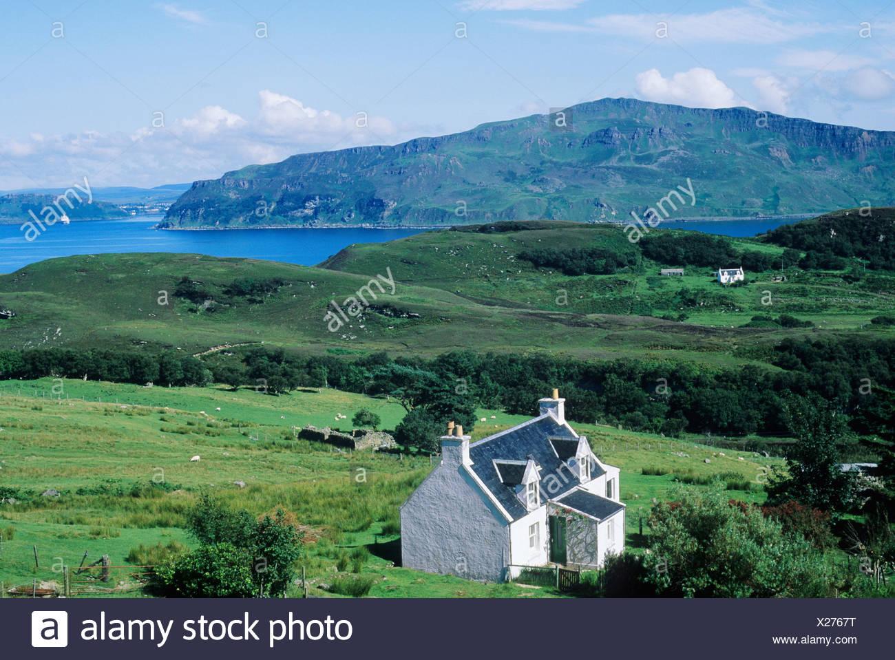 Isle of Raasay, view over Balachuirn Hamlet to Skye, Scotland Scottish island islands coast coastal scenery landscape UK isles - Stock Image