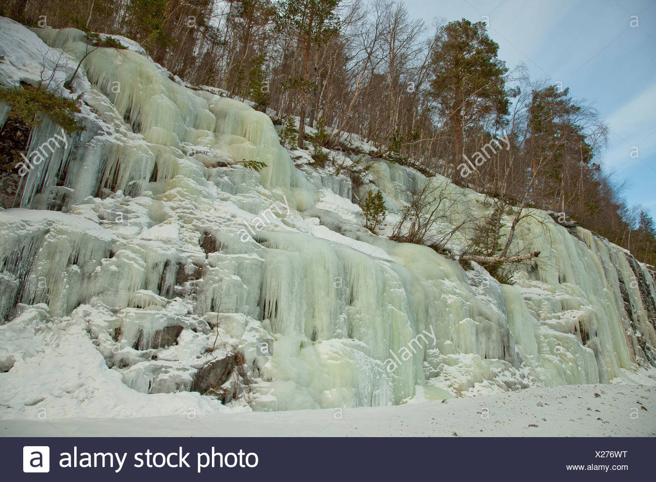 frozen waterfall, Norway - Stock Image