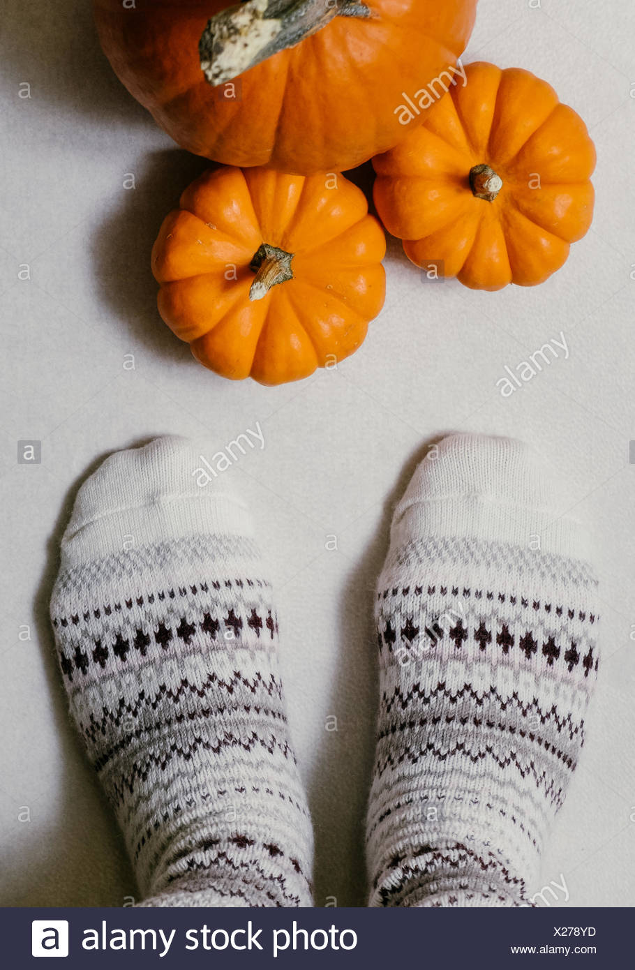 Low Section Of Woman Wearing Socks In Front Of Pumpkins On Floor - Stock Image