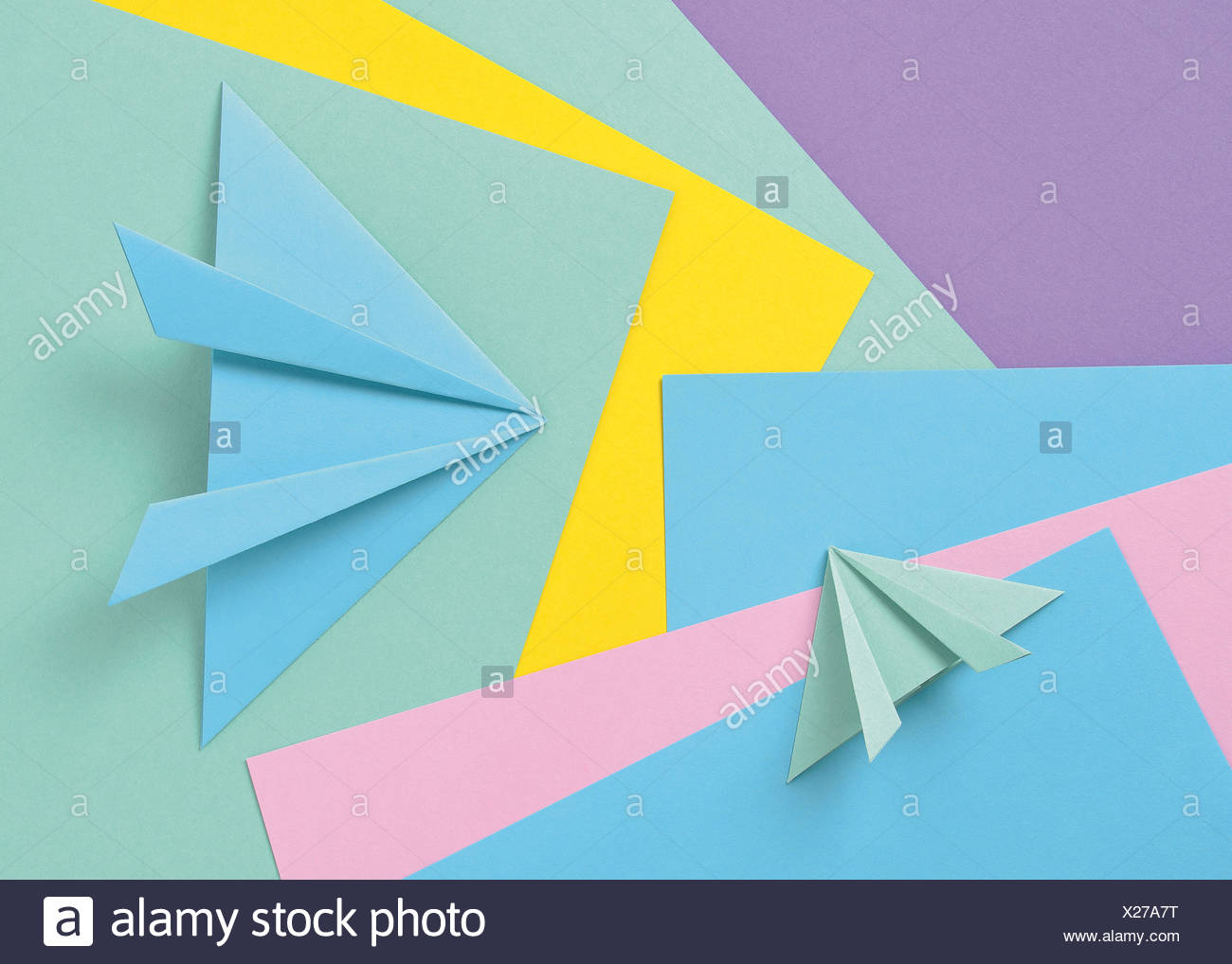 Colored paper origami - Stock Image