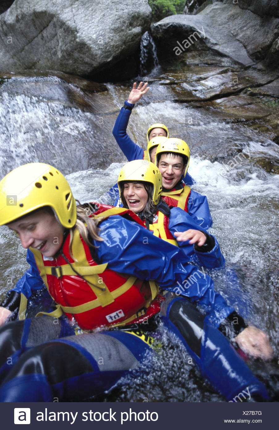 equipment Canyoning adventure group one after other water canton Ticino Malvaglio Switzerland Europe fun - Stock Image