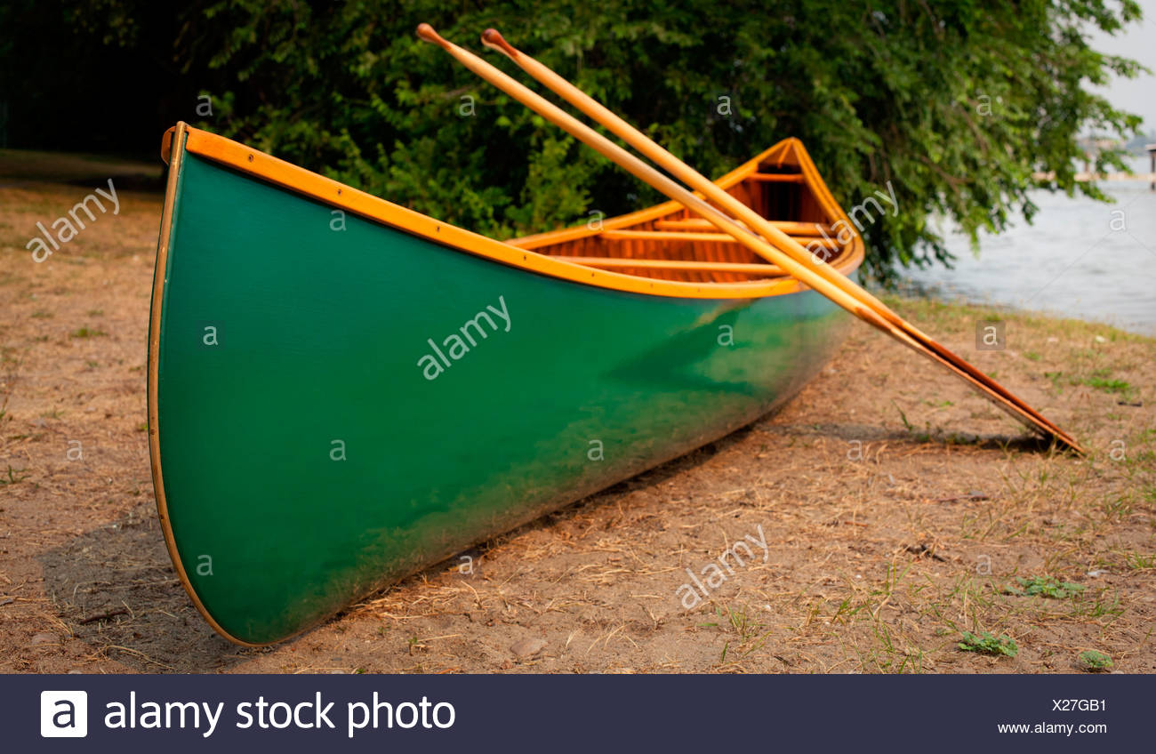A portaged, green cedar canvas canoe and paddles. - Stock Image