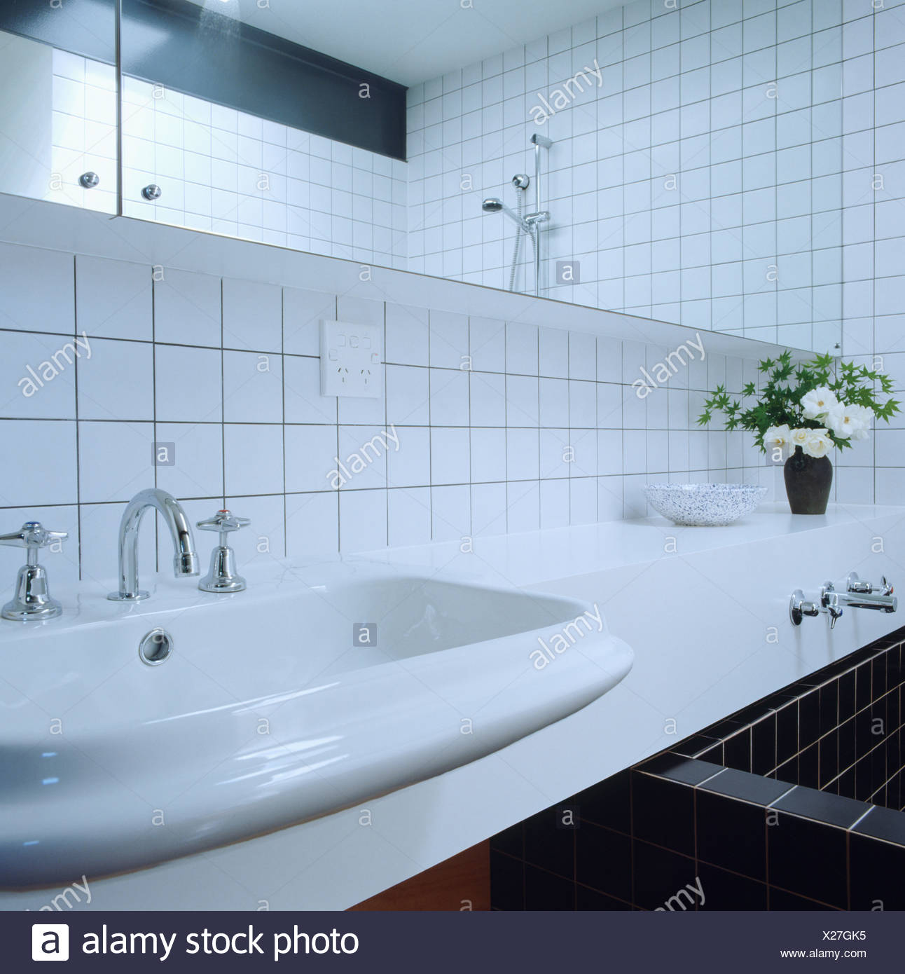 Basin Bath Mirror Monochromatic Stock Photos & Basin Bath Mirror ...