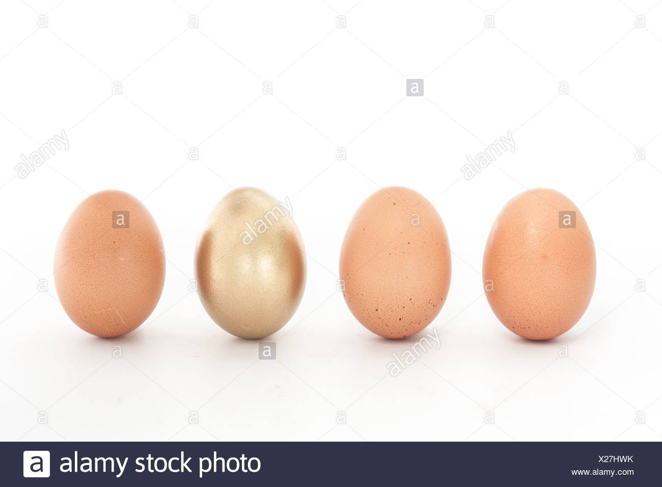 Four eggs in a row with one gold one - Stock Image