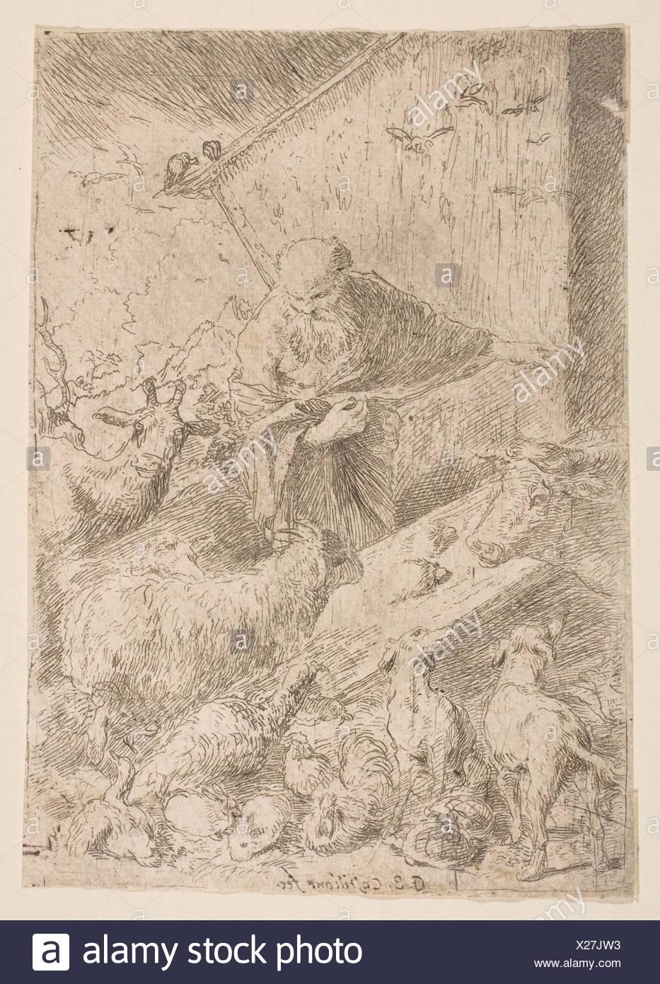 Noah letting the animals into the ark. Artist: Giovanni Benedetto Castiglione (Il Grechetto) (Italian, Genoa 1609-1664 Mantua); Date: ca. 1630; - Stock Image
