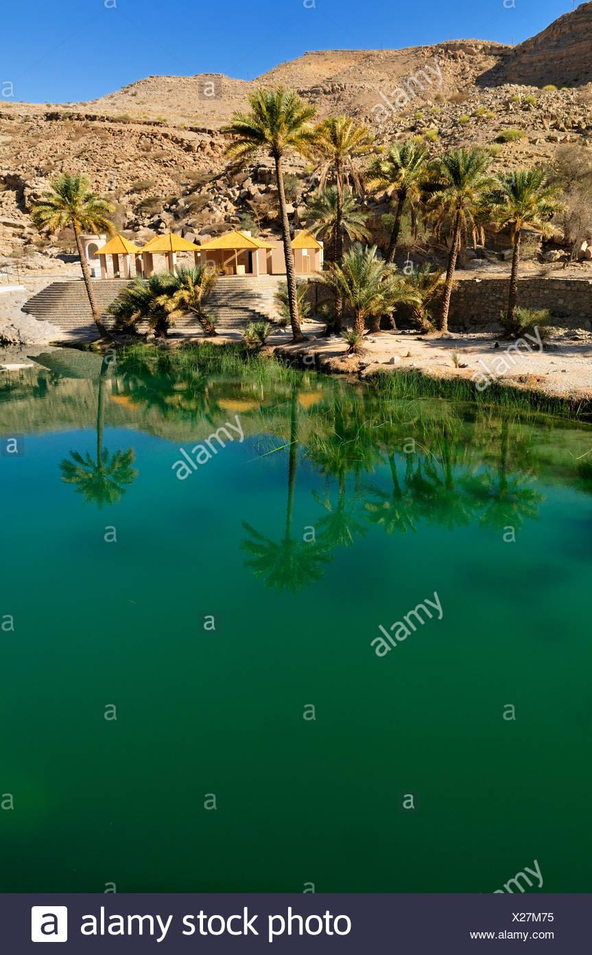 Water pool in a rocky canyon, Wadi Bani Khalid, Sharqiya Region, Sultanate of Oman, Arabia, Middle East - Stock Image