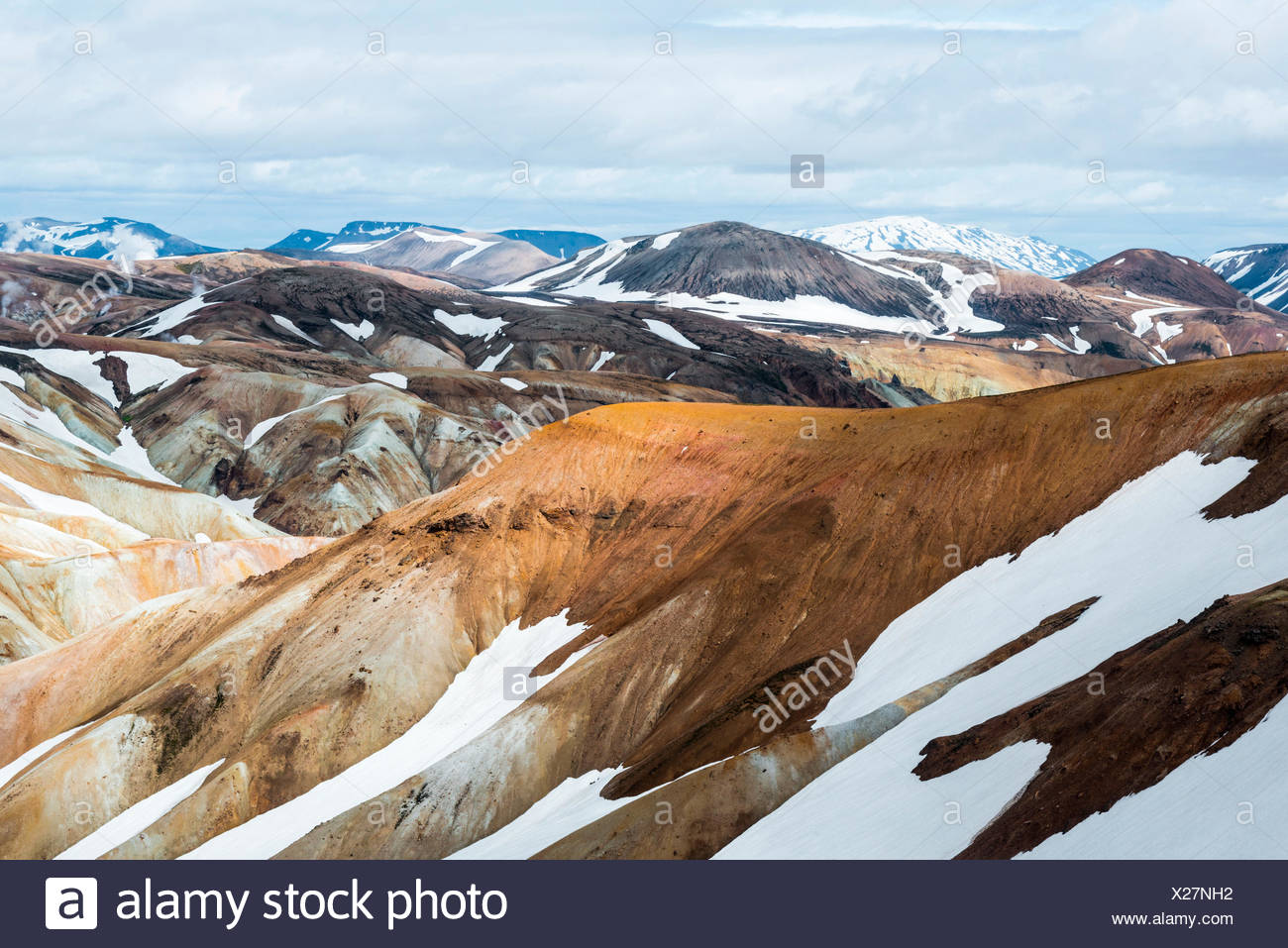 The immense colours' contrast in Landmannalaugar, Iceland - Stock Image
