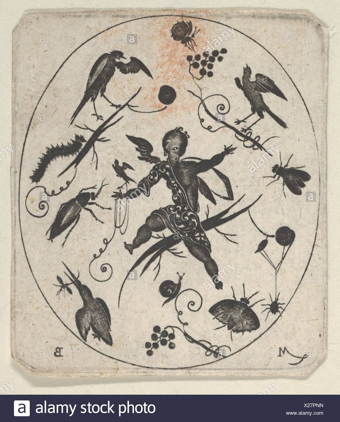 Blackwork Design for Goldsmithwork with a Putto, Birds and Insects. Artist: Mathais Beitler (German, Ansbach, active ca. 1582-1616); Date: 1612; - Stock Image