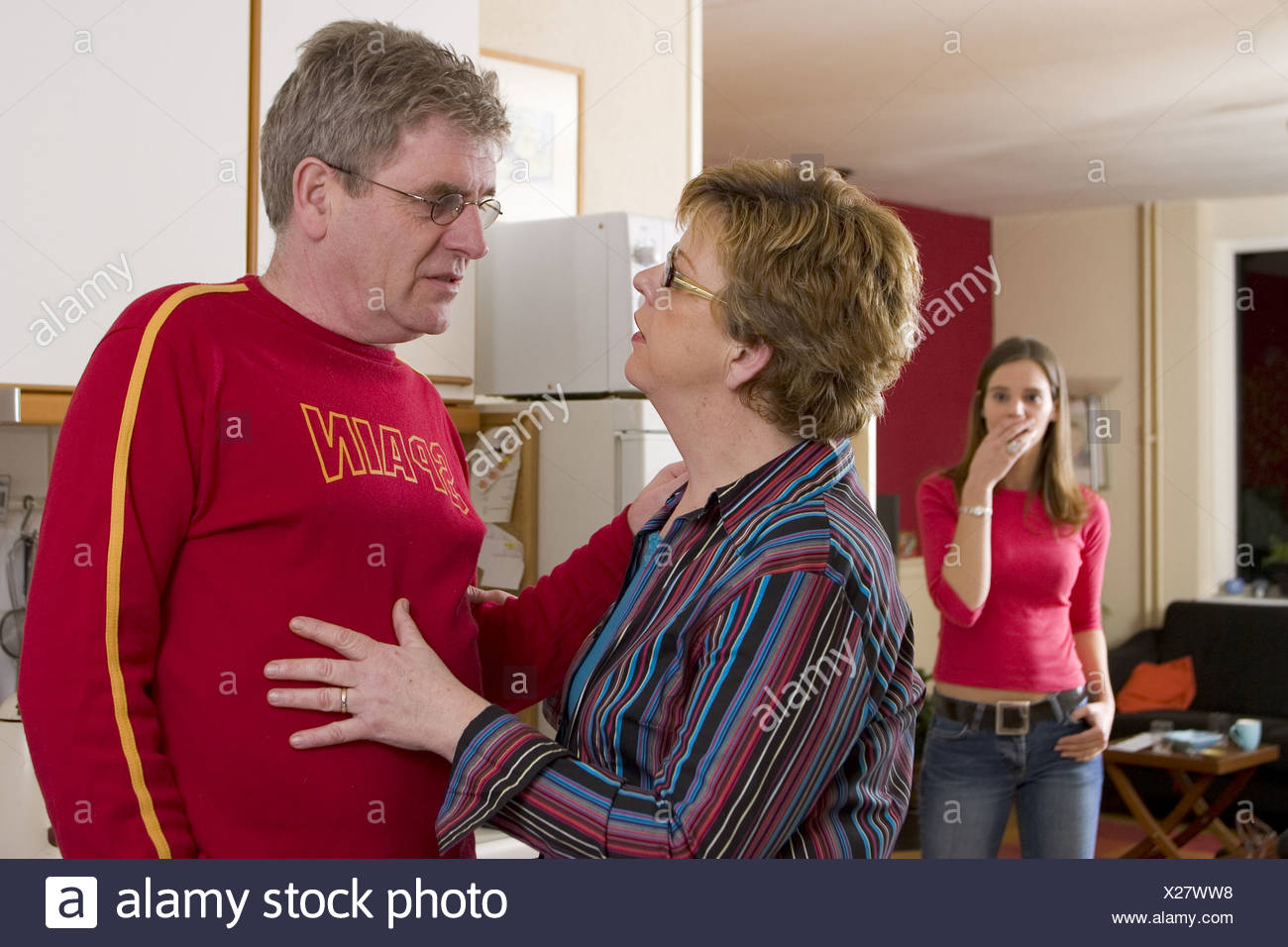 Secret affair, woman finds out cheating dad SerieCVS217053 - Stock Image
