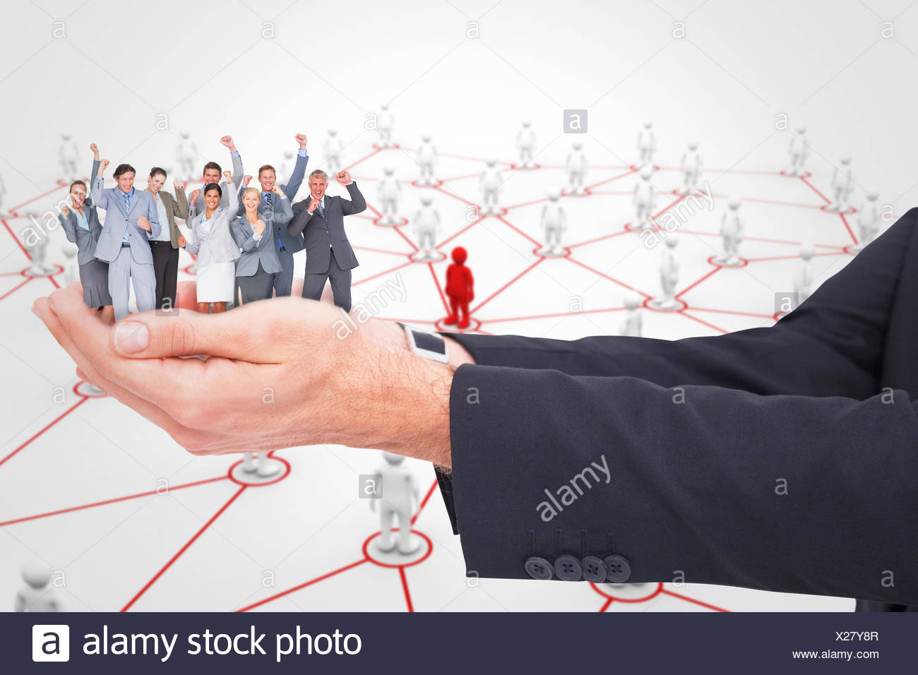 Composite image of excited business team cheering at camera - Stock Image