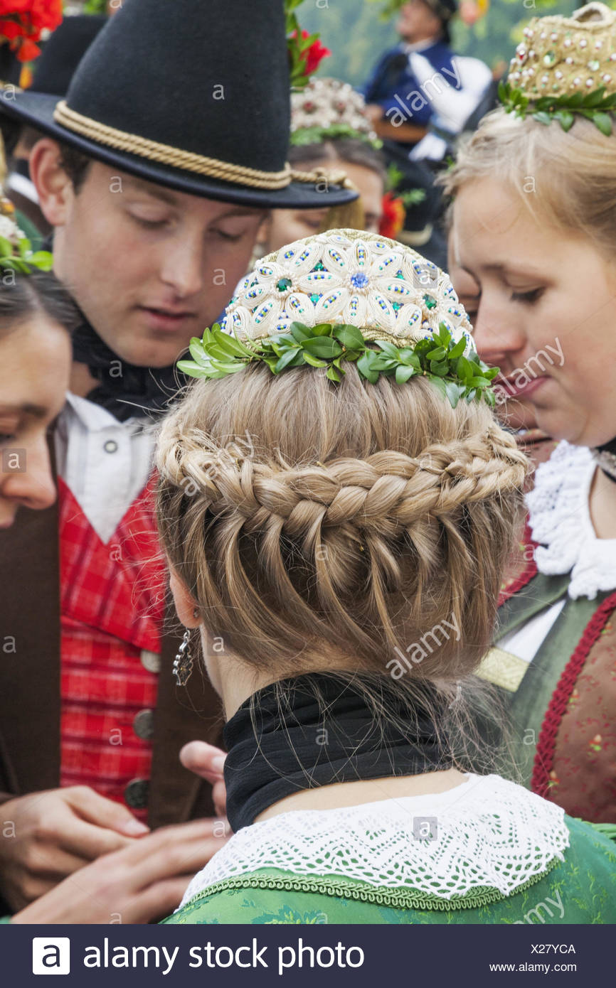 Germany, Bavaria, Munich, Oktoberfest, traditional parade, participant in traditional costume, - Stock Image