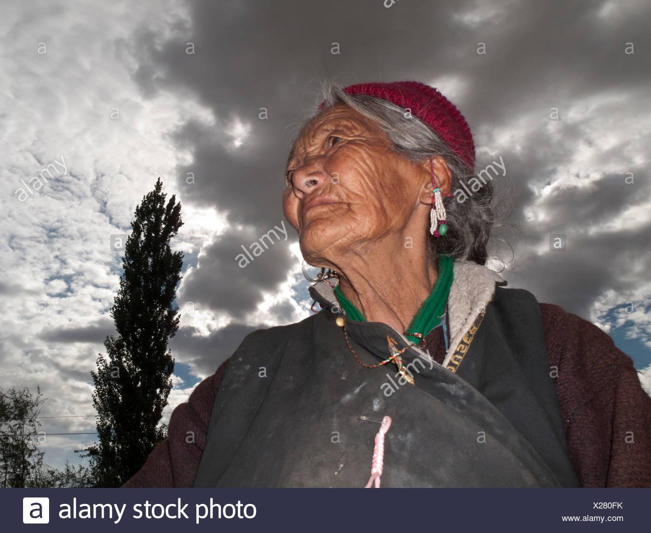 Ladakhi woman, looking sorrowful, Lamayuru, Jammu and Kashmir, India, Asia - Stock Image