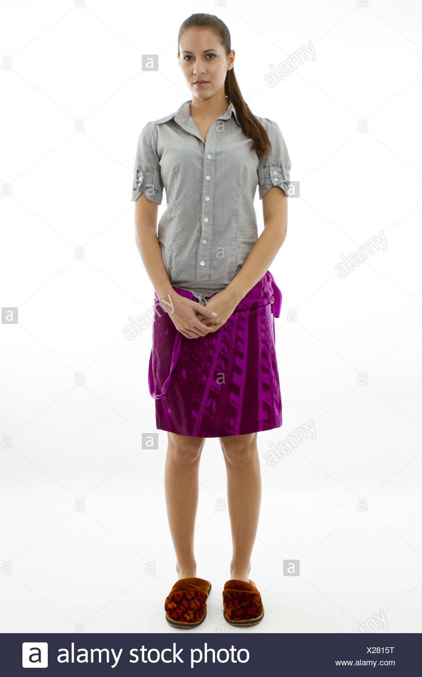 Fotomodell bei einer Pause, Photo model have a break, woman, model, break, standing, studio, clothing, slippers, towel, blouse, Stock Photo