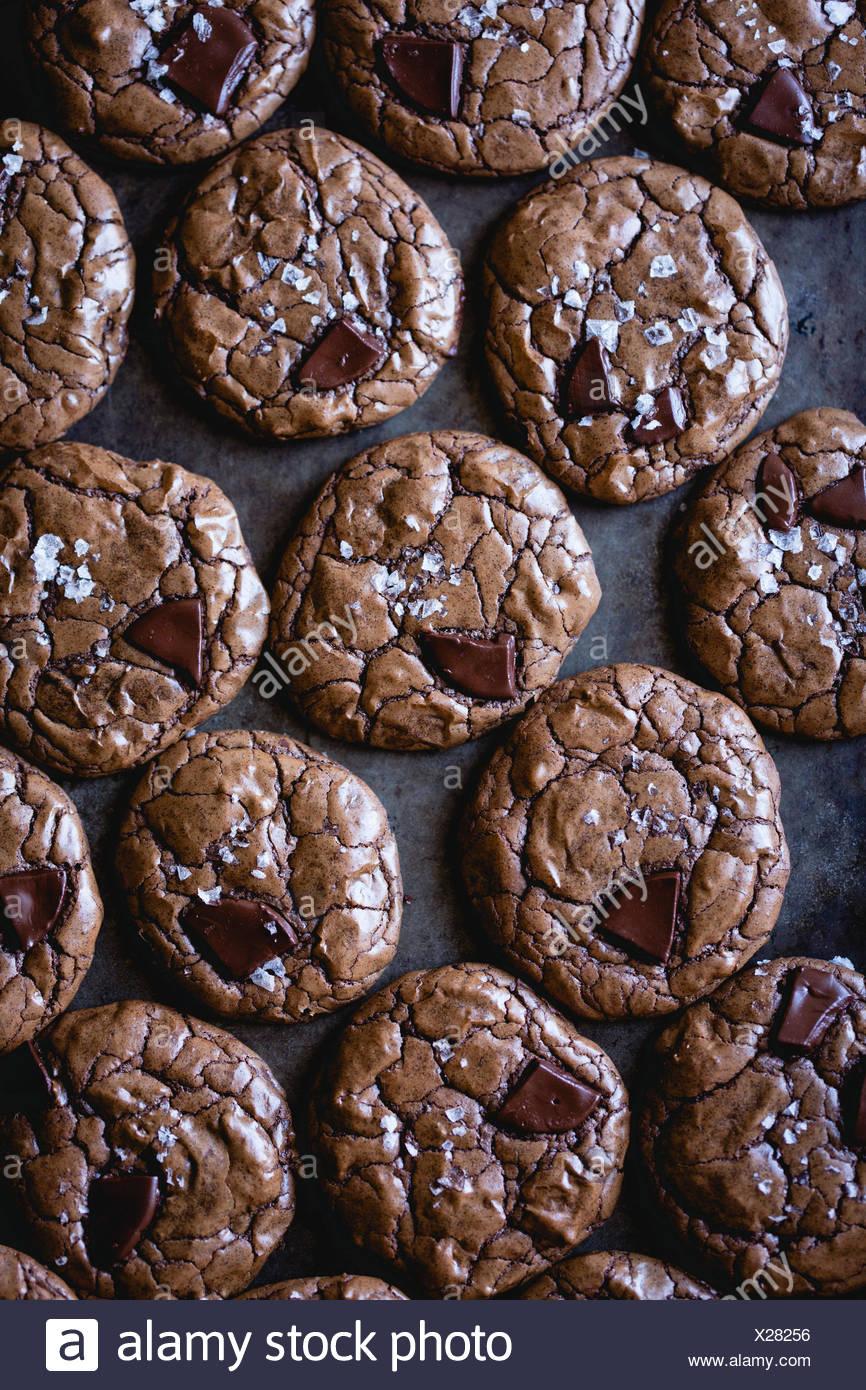 salted double chocolate buckwheat cookies (gluten-free) - Stock Image