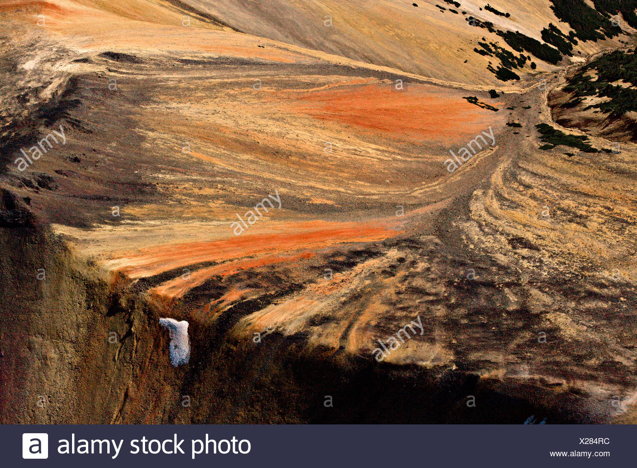 volcanic landscape in the Rainbow Mountains of British Columbia Canada - Stock Image