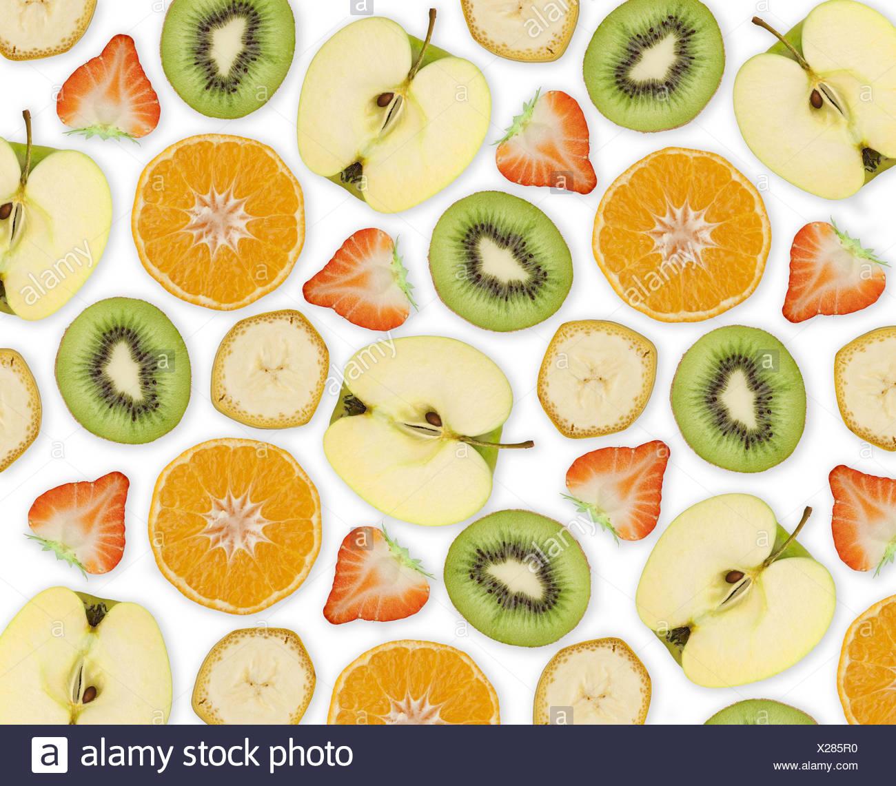 Fruit, apple, strawberry, orange, kiwi, banana, cut open, - Stock Image