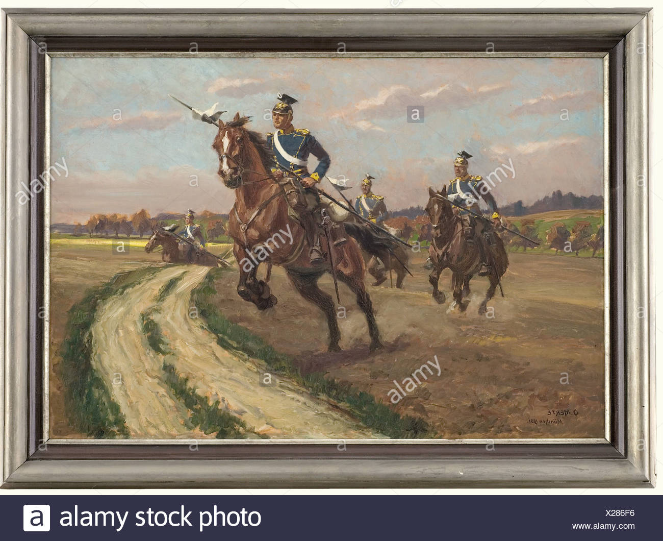 """Oskar Merté (1872 - 1938), """"Ulanen Patrouille"""" (Uhlan Patrol) A picture of four uhlans from the Prussian Uhlan Regiment Graf Haeseler No. 11 riding across country at a gallop. Oil on canvas. Signed """"O. Merté München 1931"""" at the lower left. Picture dimensions: 65 x 94 cm. Framed dimensions: 82 x 111 cm. The picture appeared as the cover picture on the Deutsche Kavalleriezeitung (German Cavalry Journal) volume 9/1931 (included). The Munich military and horse painter Oskar Merté studied at the Munich Academy and for years was a contributor to the """"Fliegende Blätt, Stock Photo"""