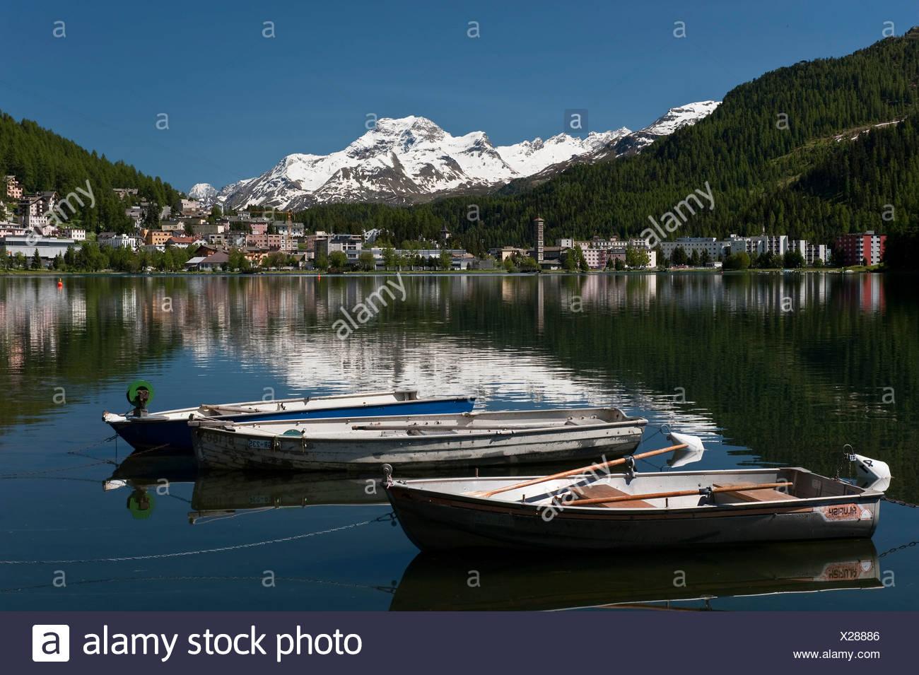 Lake St. Moritz, St. Moritz, Upper Engadine, Grisons, Switzerland, Europe Stock Photo