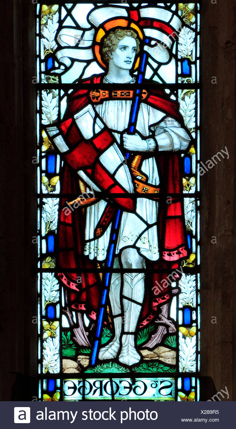 Cley next the Sea, Norfolk.  St. George, stained glass window by J. Powell & Sons, 1917, Arts and Crafts style, English - Stock Image