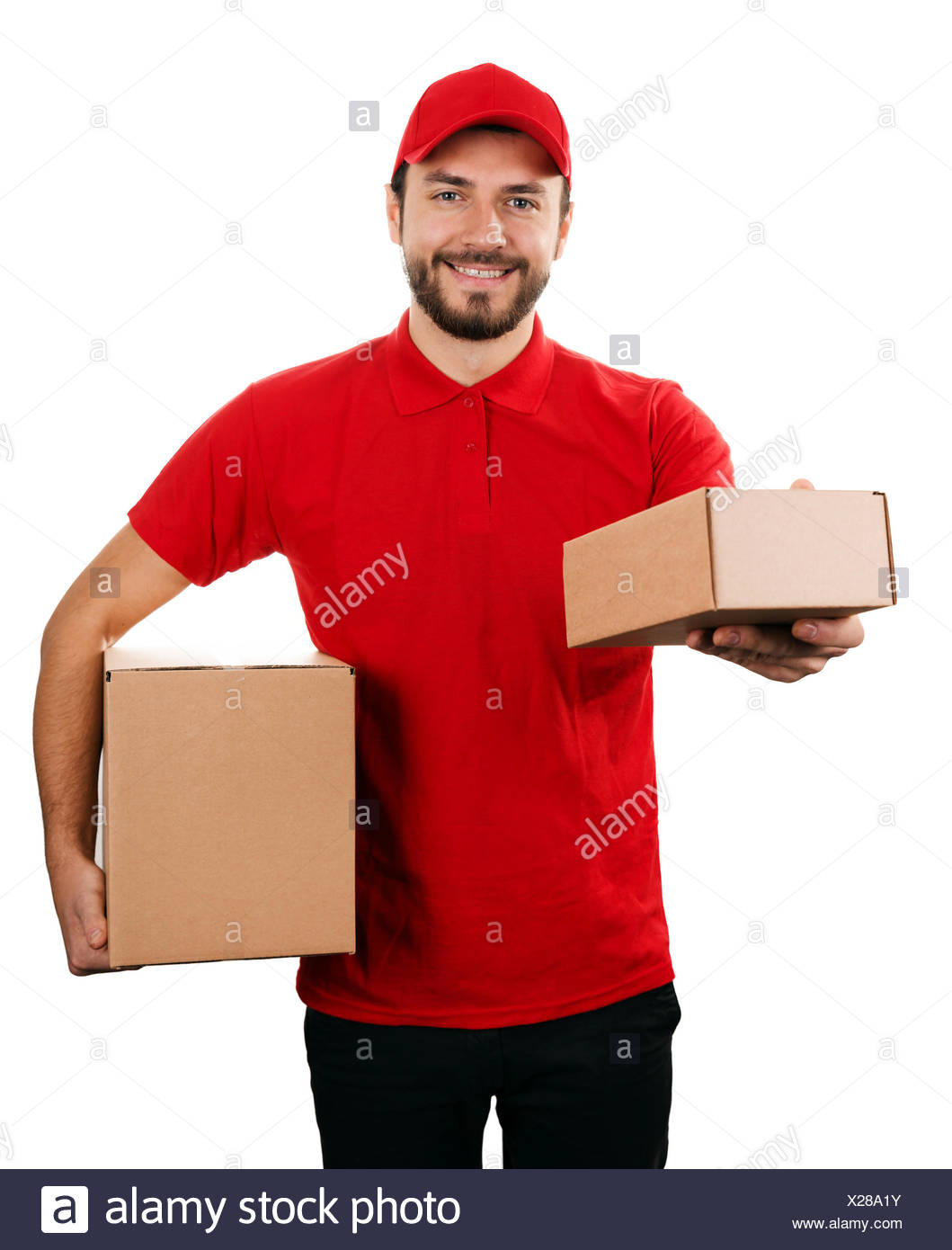 delivery service - young smiling courier holding boxes on white - Stock Image