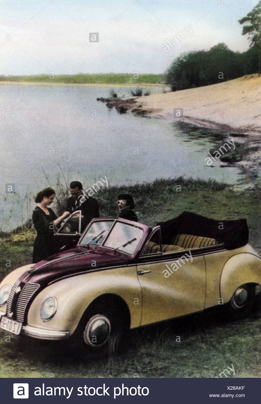 transport / transportation, car, 1950s, young people at convertible car, having break near lake, coloured picture postcard, 1950s, Additional-Rights-Clearences-NA - Stock Image