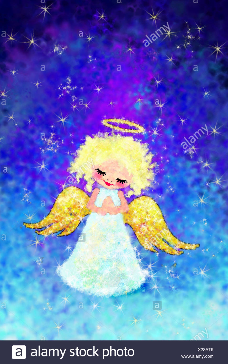 Illustration,angel,happily,pious,hands folded,stars,heavens