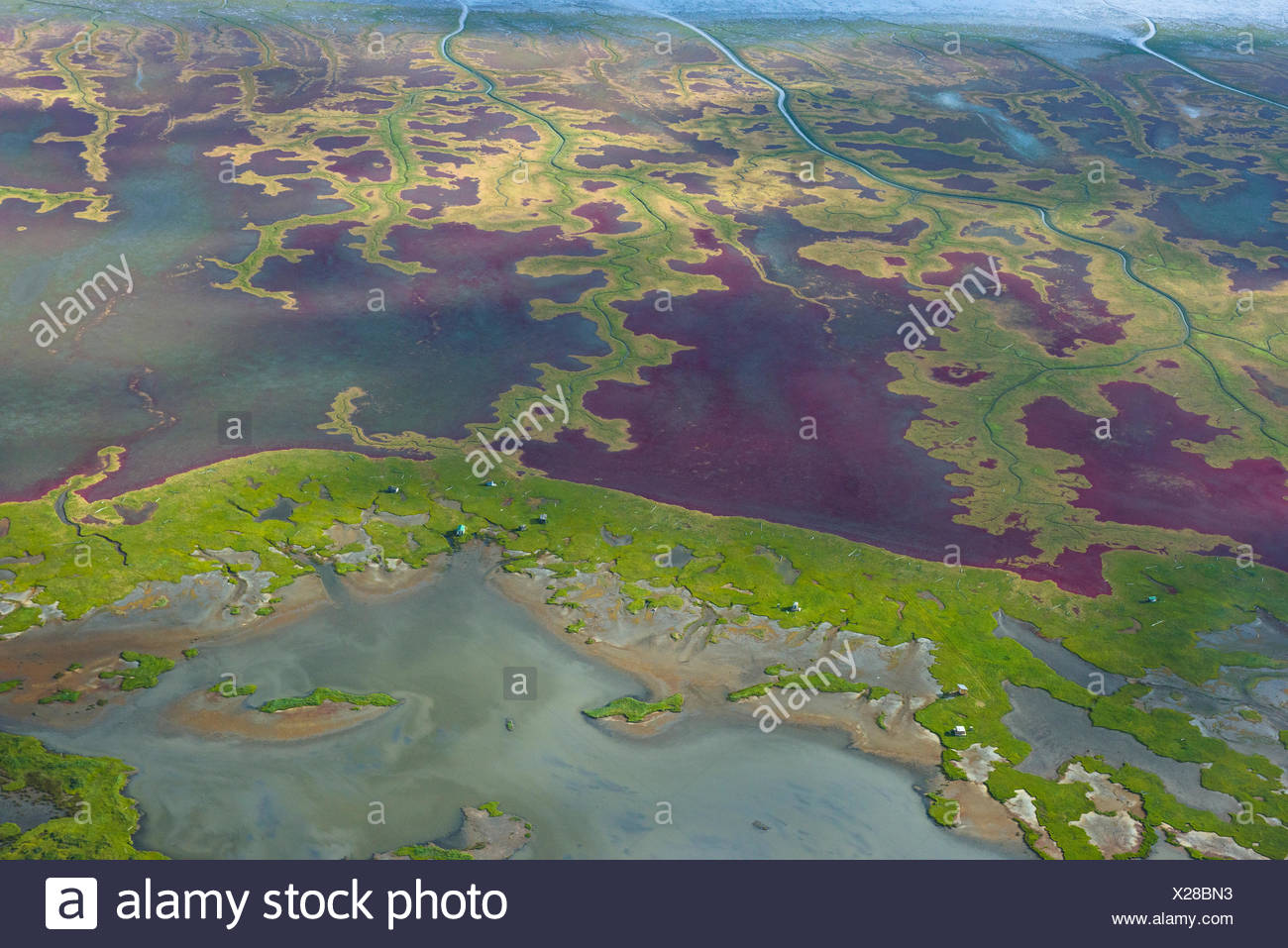 Aerial view of river in Lake Clark National Park And Preserve. - Stock Image
