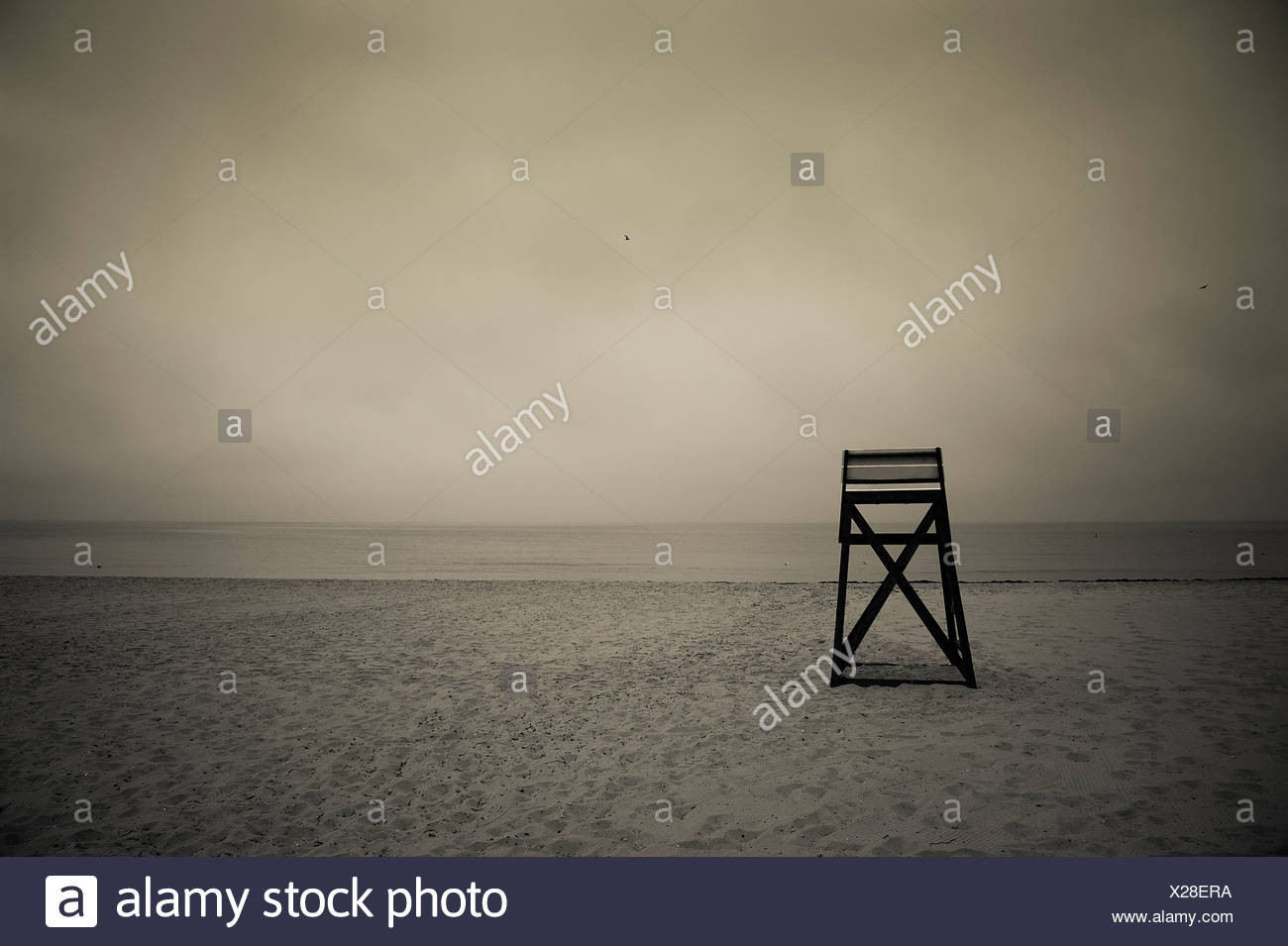 Moody lifeguard stand on beach, Cape Cod, MA - Stock Image