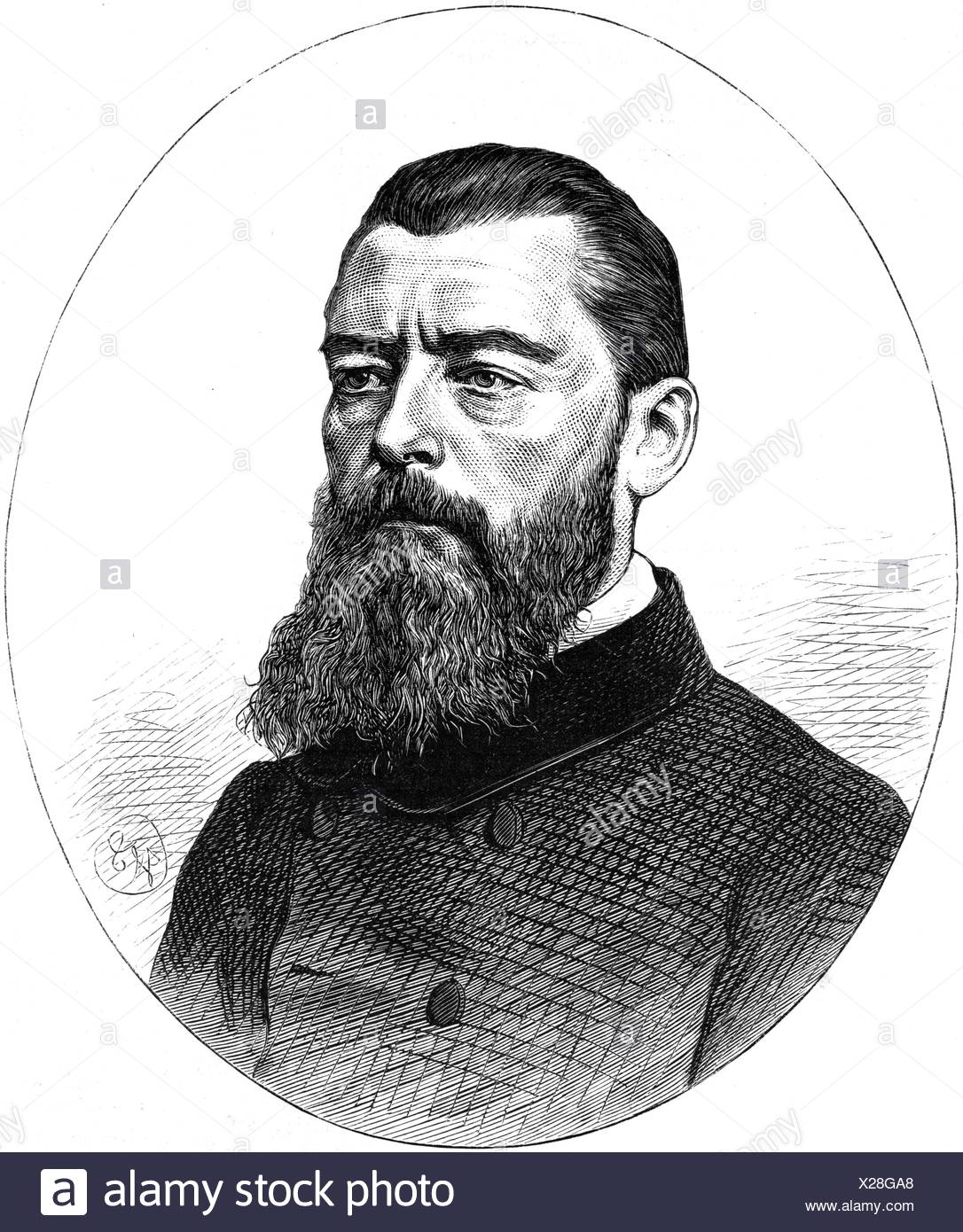 Feuerbach, Ludwig, 28.7.1804 - 13.9.1872, German philosopher, portrait, wood engraving, published in 1872, Additional-Rights-Clearances-NA - Stock Image