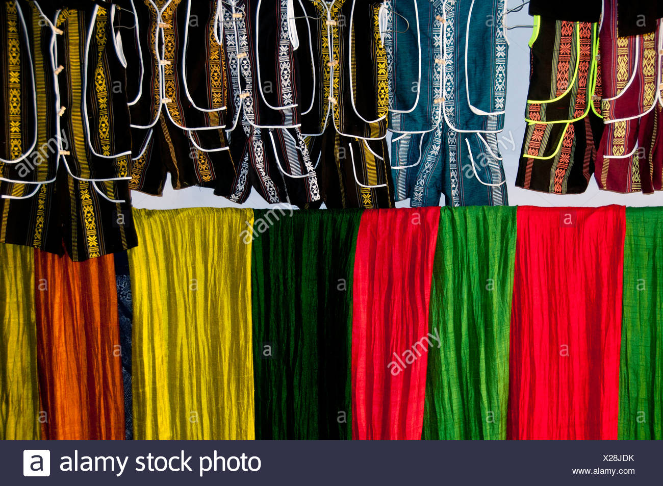 colorful, fabric, clothing, store, Sapa, Vietnam, Asia, textiles - Stock Image