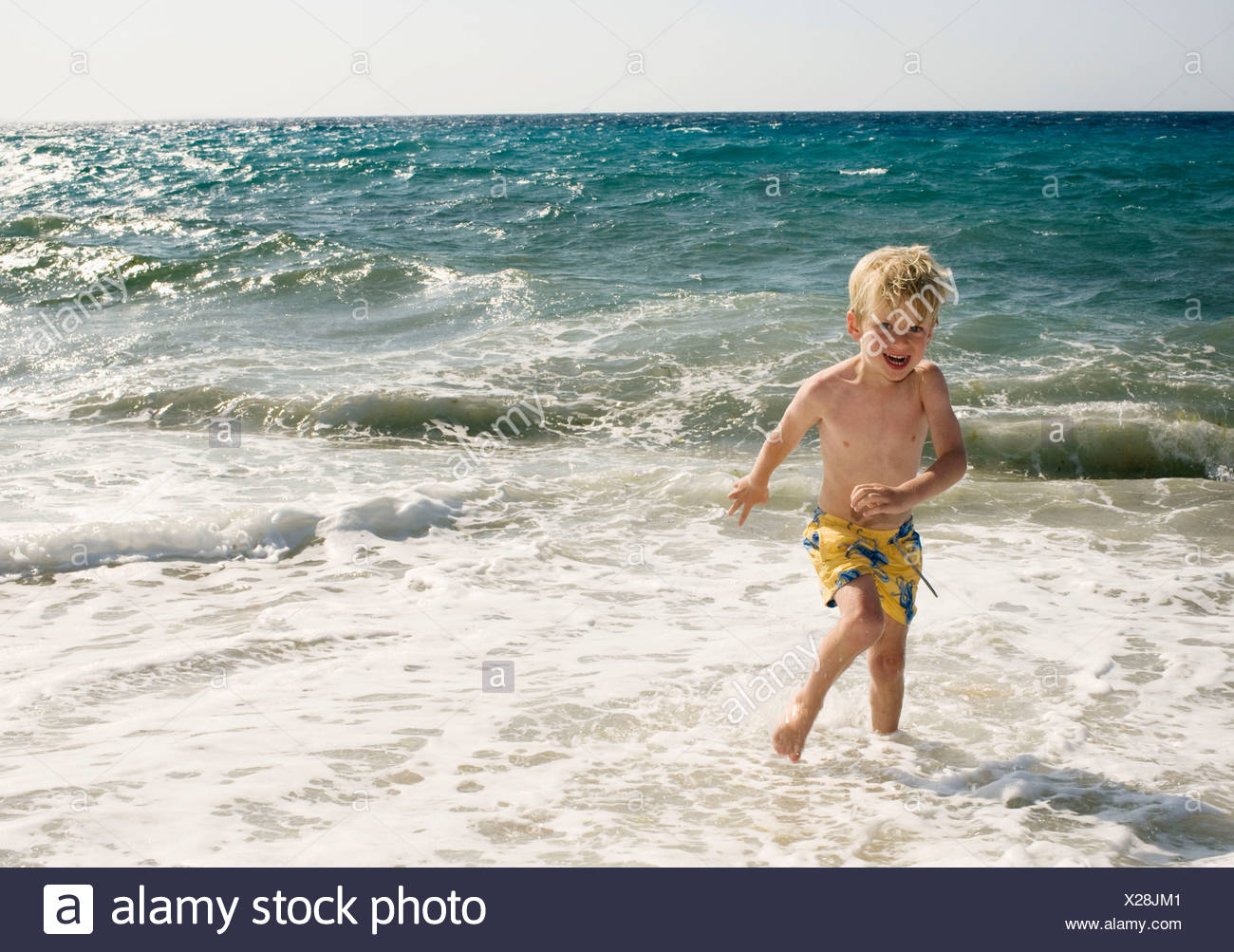 bb971dd6cd Young boy at the beach in shallow water smiling Stock Photo ...