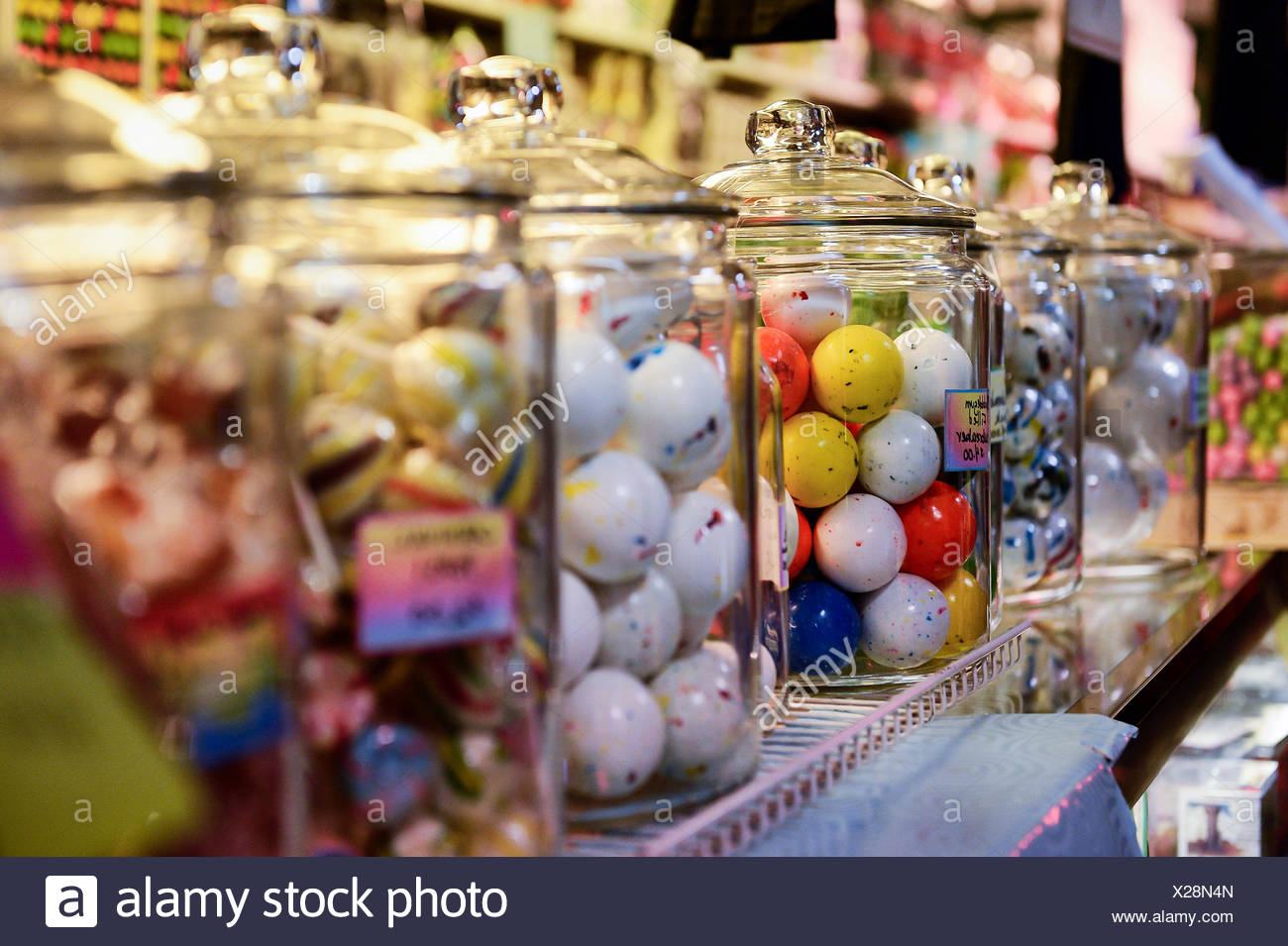 Jaw breakers in a candy store. - Stock Image