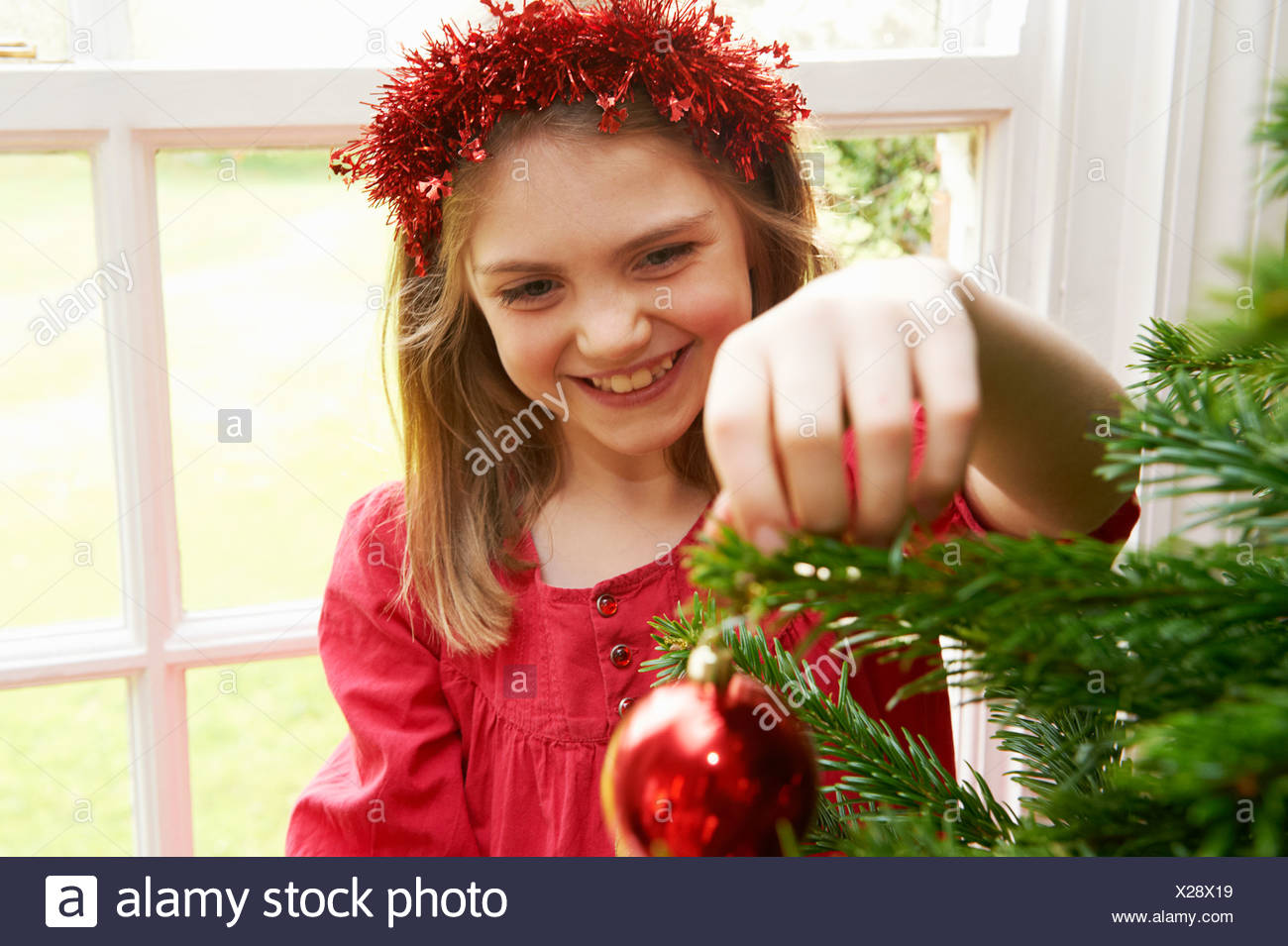 Girl decorating Christmas tree - Stock Image