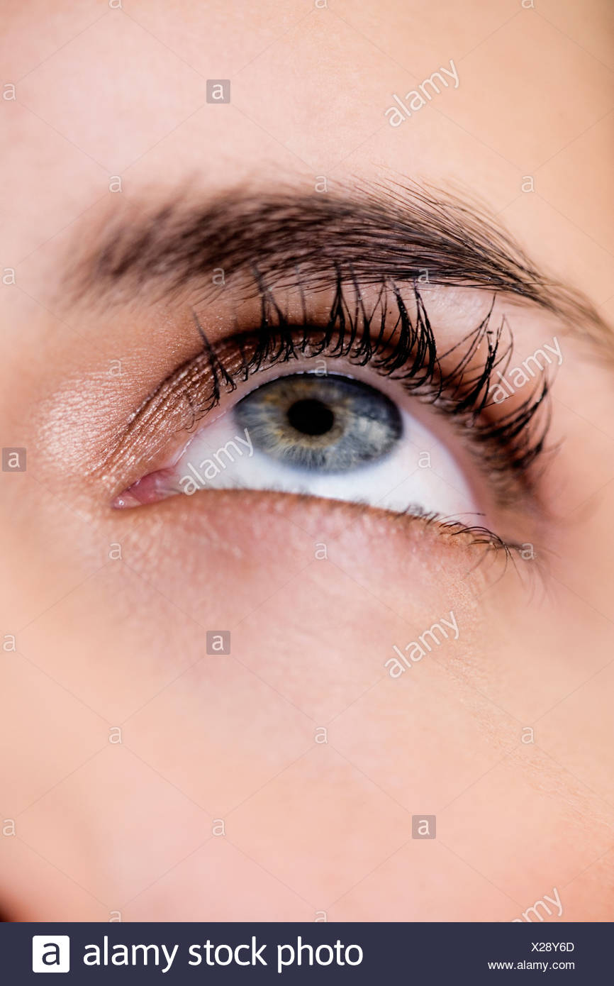 Woman's right eye and eyebrow, looking upwards - Stock Image
