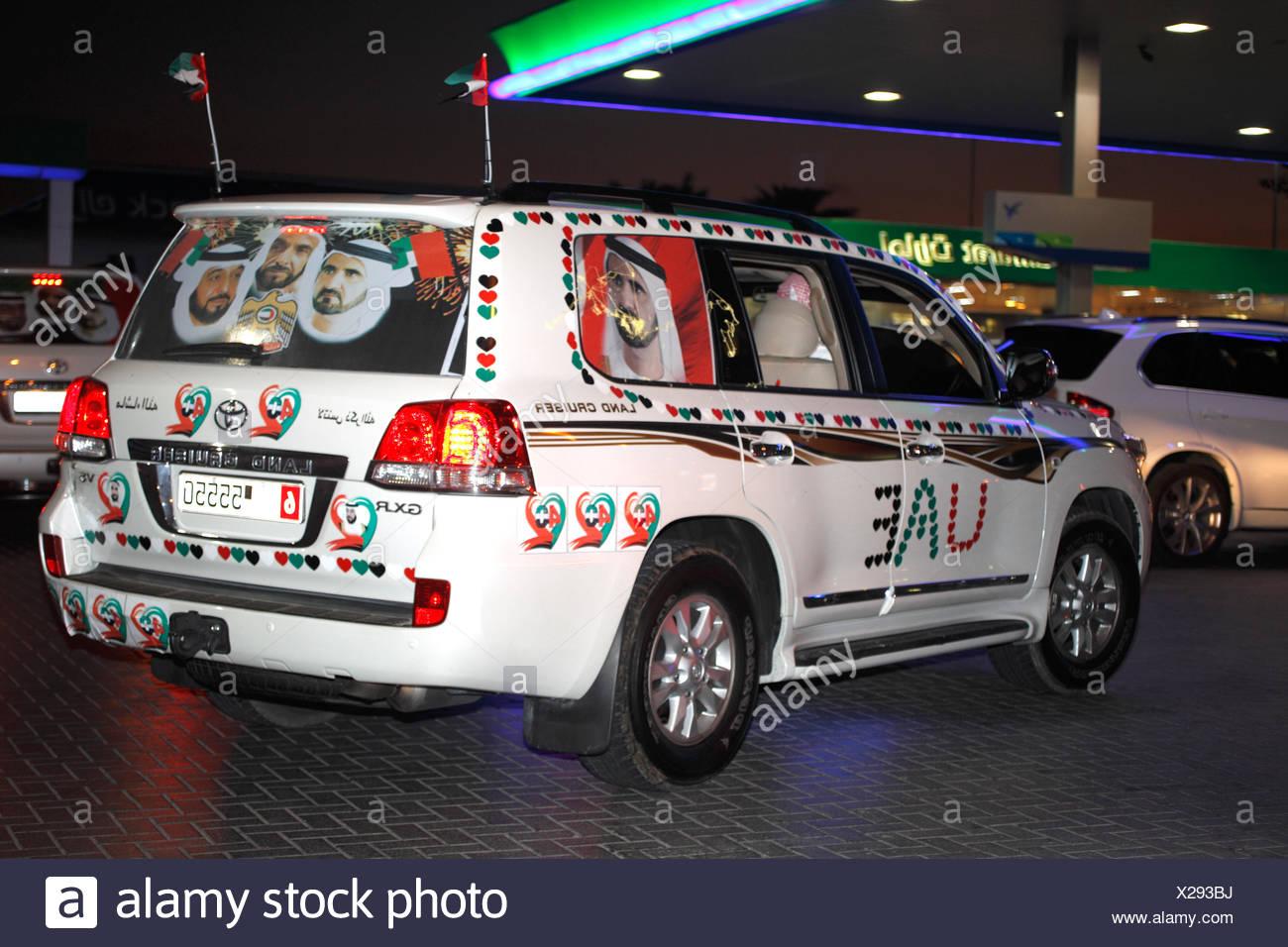 Celebrating National Day, Dubai, UAE. Stock Photo