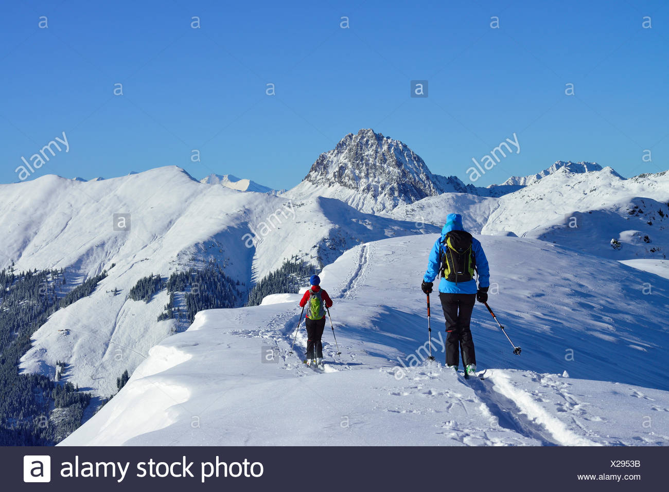 Two female back-country skiers downhill skiing from mount Steinberg, Kitzbuehel Alps, Tyrol, Austria - Stock Image