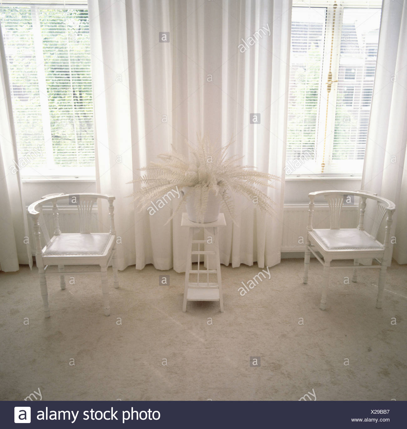 White curtains and chairs in sixties living room with grey carpet ...