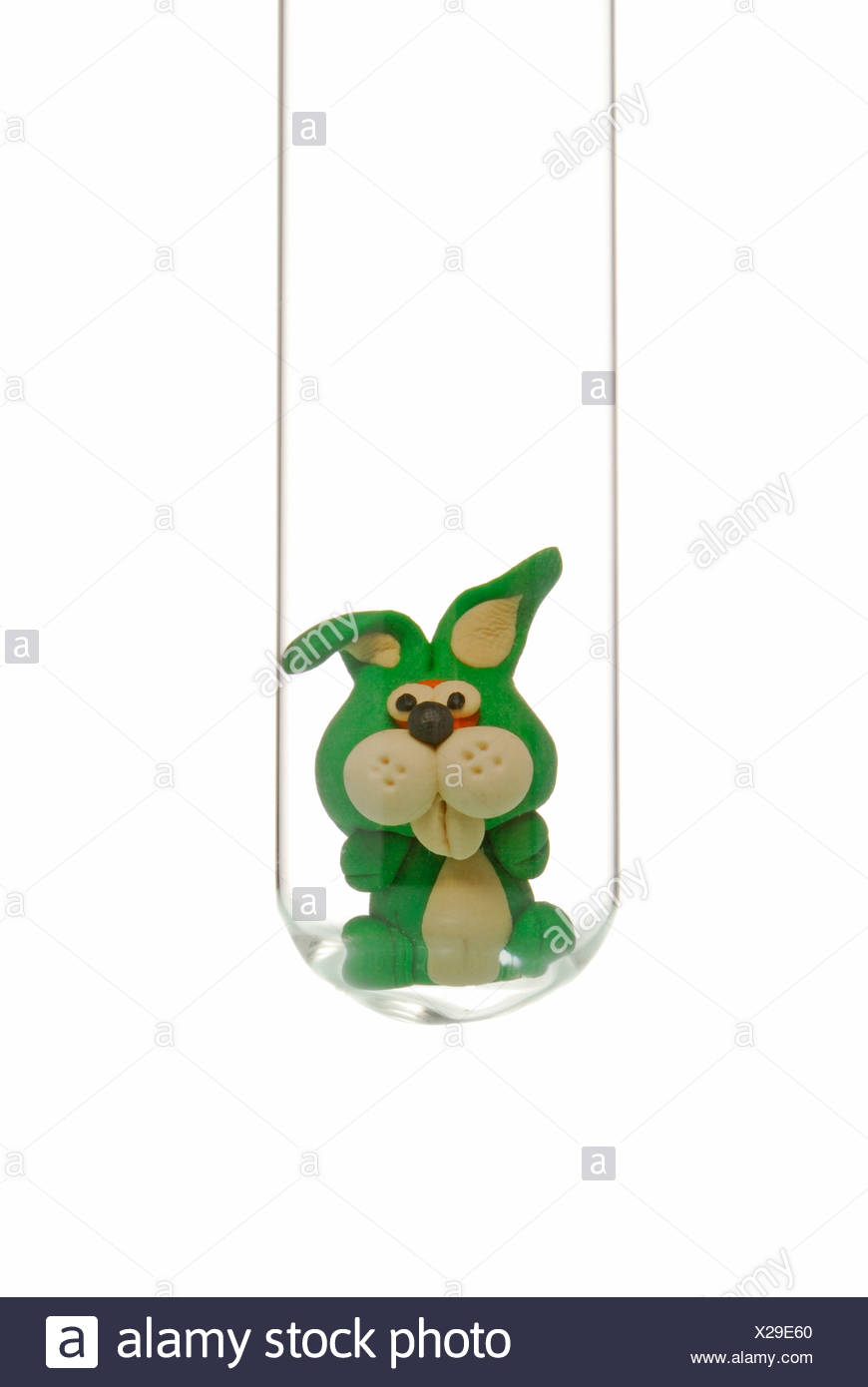 Little Rabbit In A Test Tube Symbolic Of Animal Experiments Stock