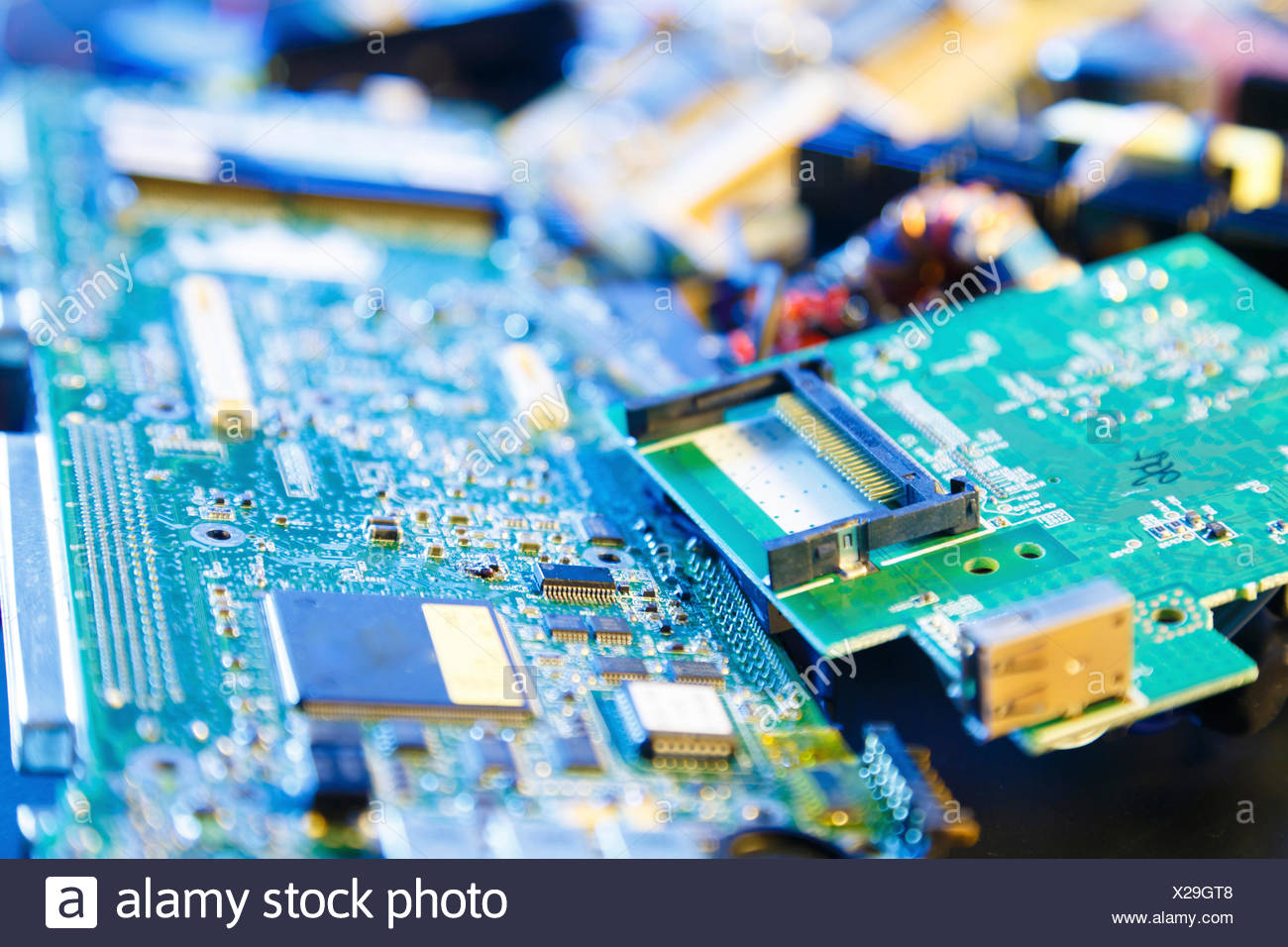 Circuit Boards Stock Photos Images Alamy Pcb Recycling Machine Gt Waste Printed Board Recycled Image