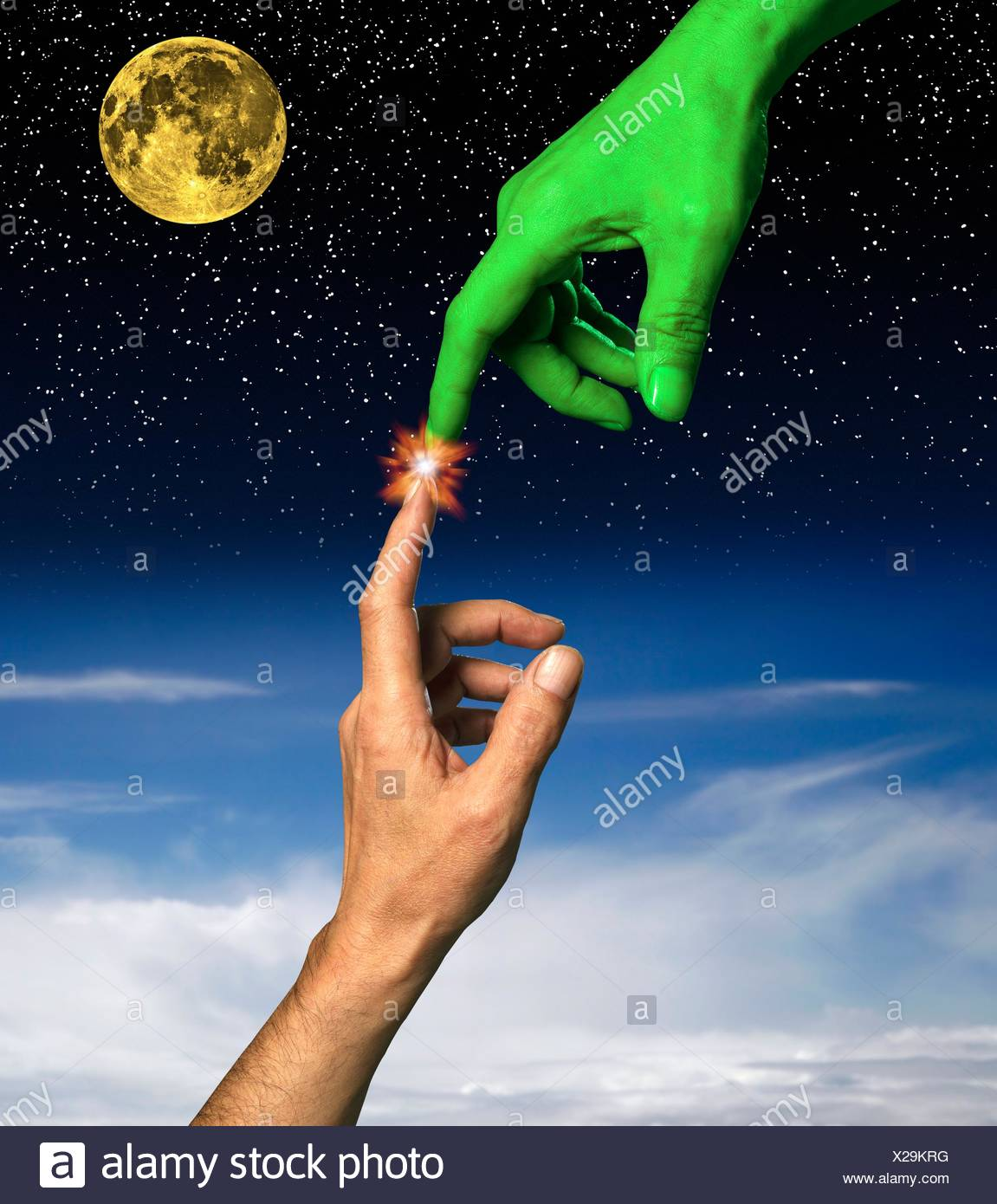 artwork, digitally generated, illustration, hands, fingers, forefingers, connections, touching, sensory perception, green colour, alien, space, the future, futuristic, curiosity, the unknown, mystery, ideas, energy, spark, electricity - Stock Image