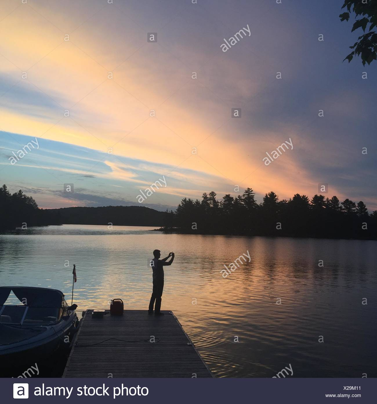 Cottage country at sunset Stock Photo