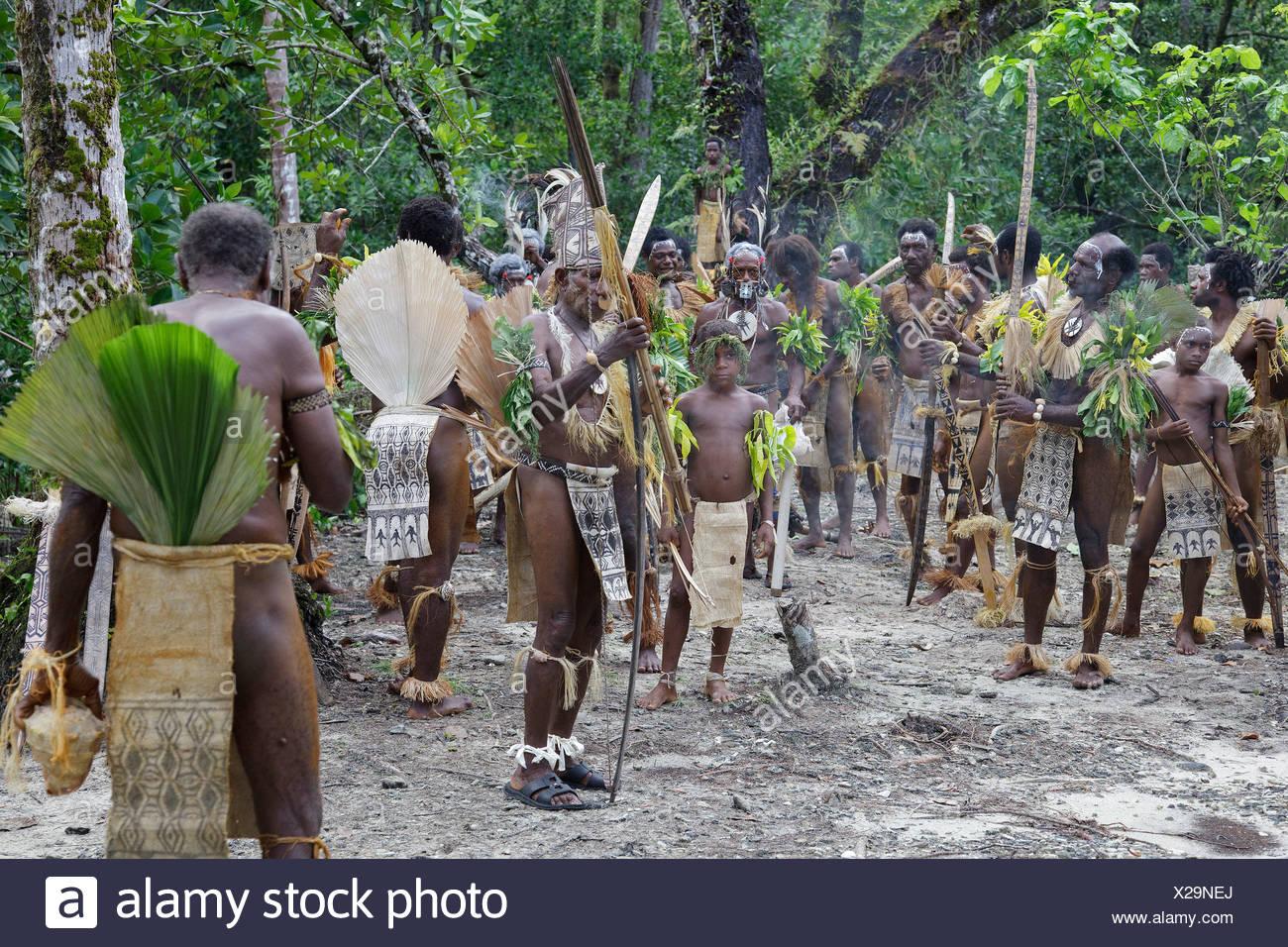 Primitive people, Santa Cruz Island, Solomon Islands, Melanesia, Oceania - Stock Image