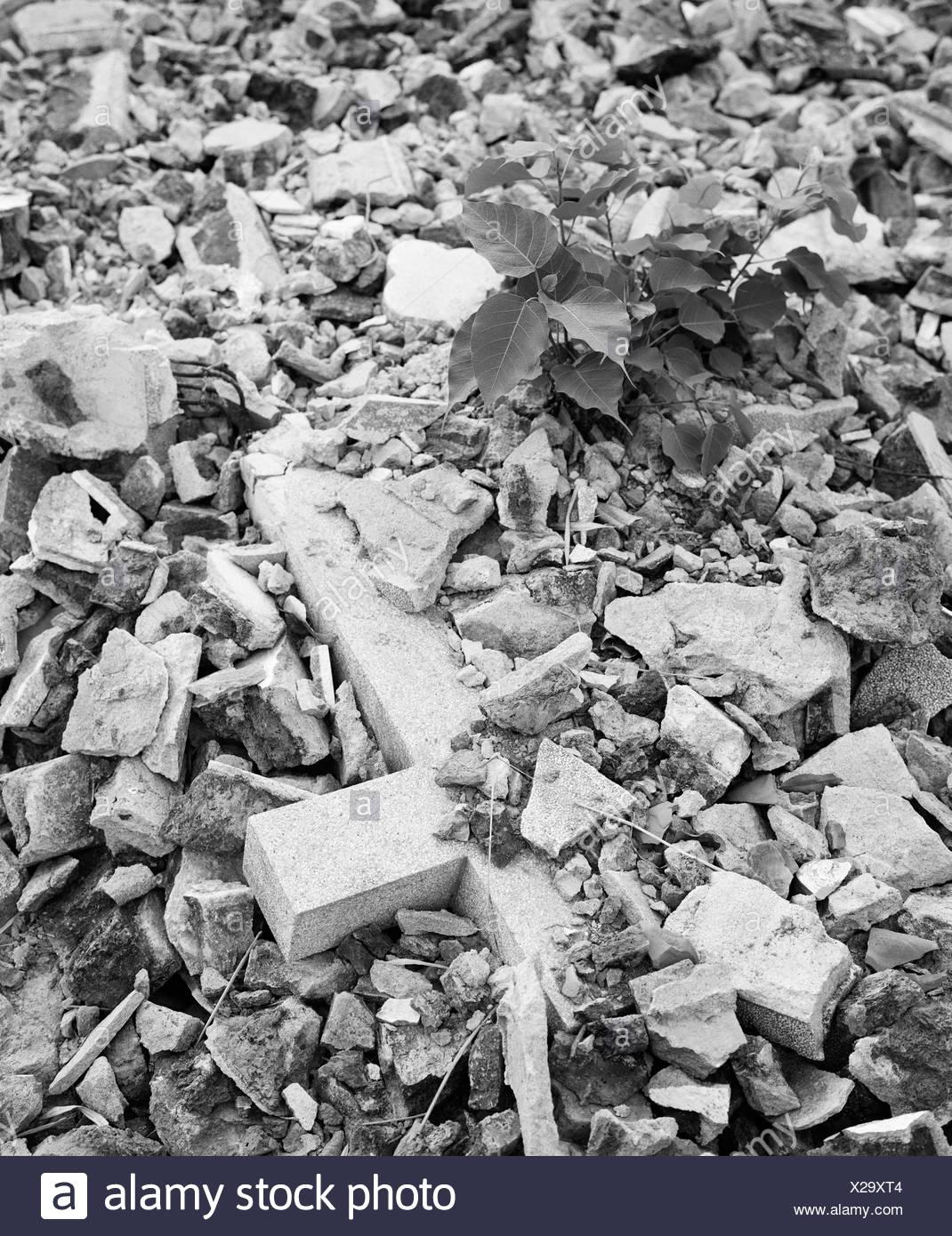 Cross amid demolished area (B&W) - Stock Image