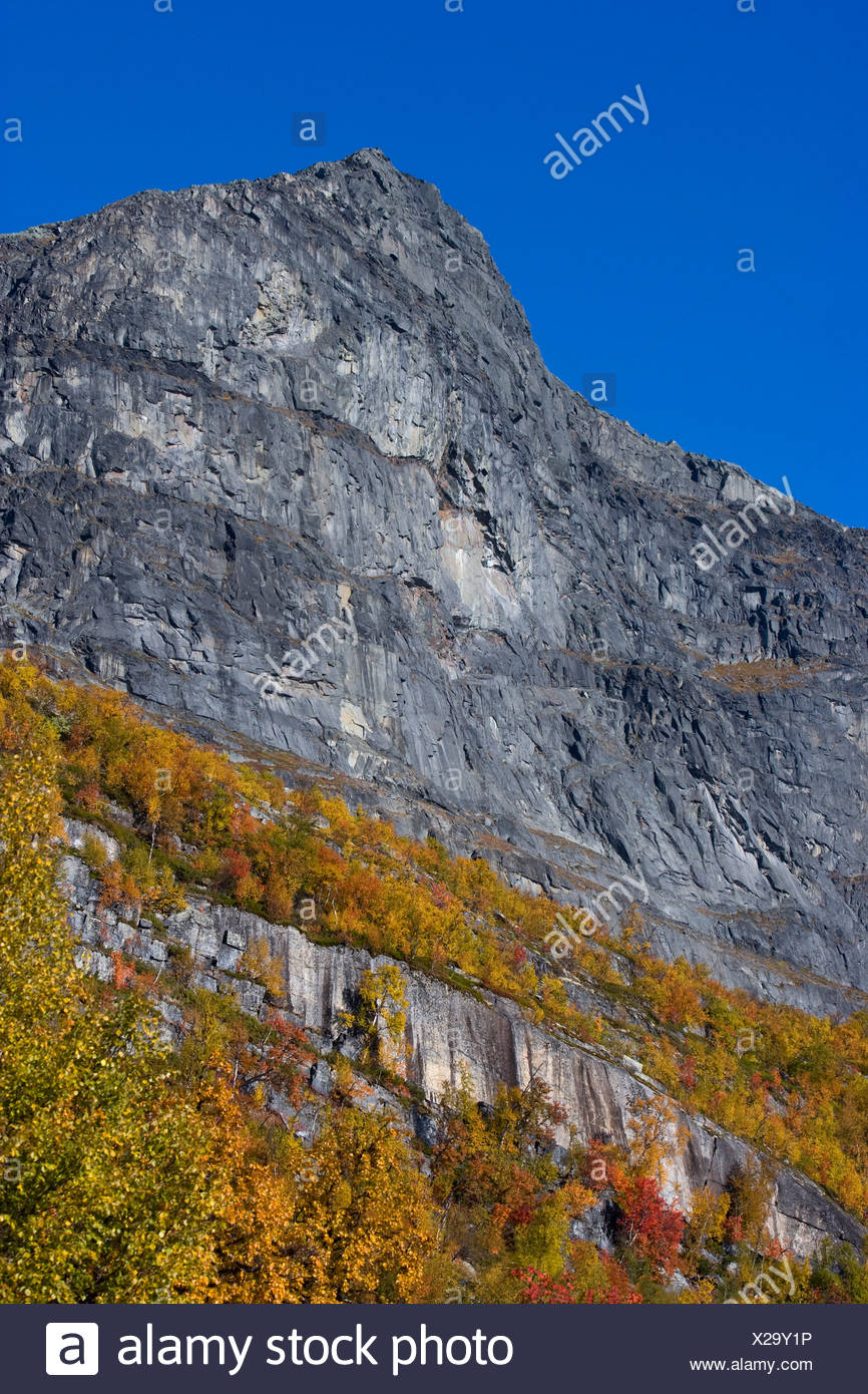 Low angle view of mountain top against blue sky at Stora Sjöfallet National Park in Lapland, Sweden - Stock Image
