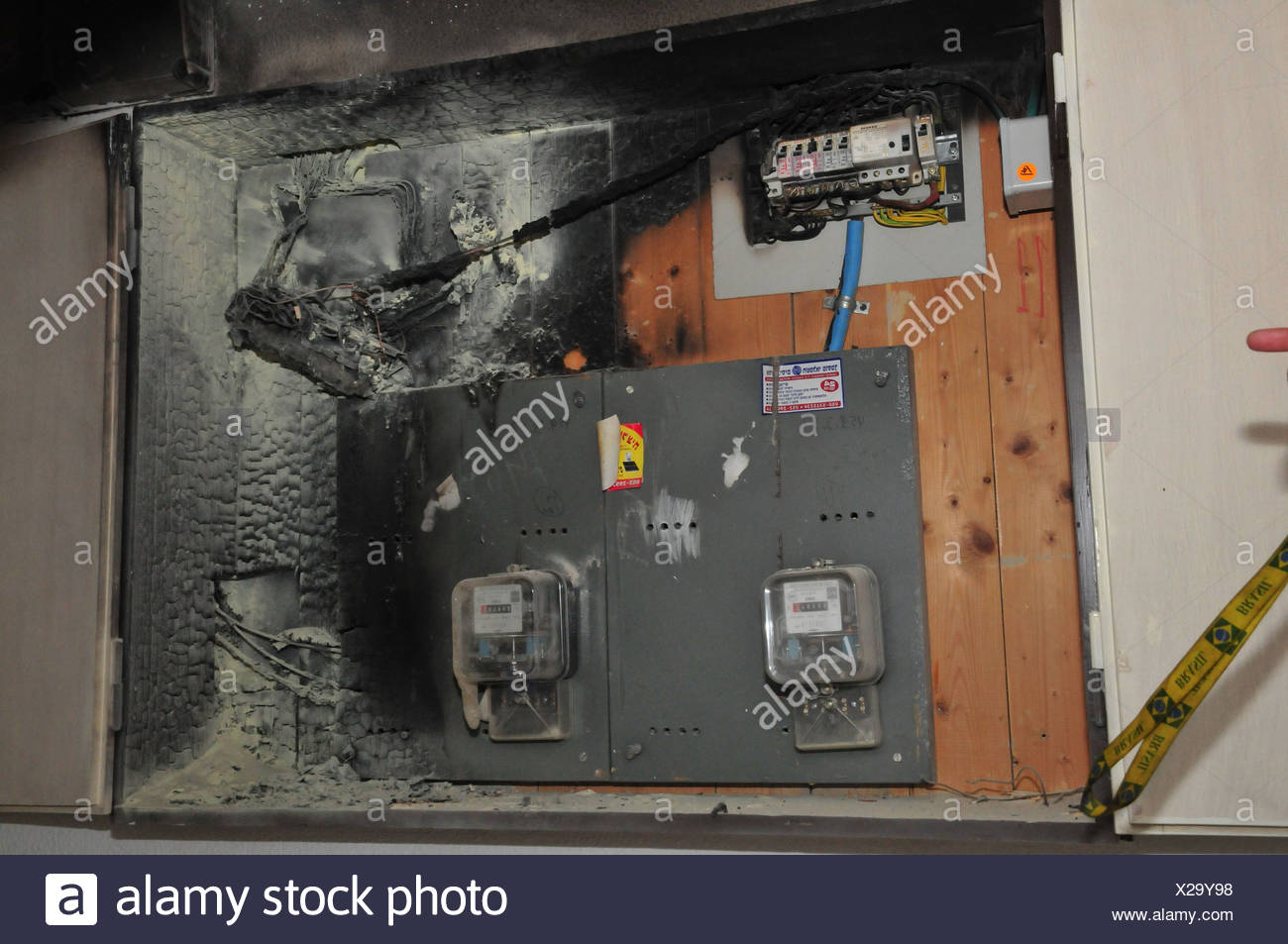 Cartoon Electrical Fuse Box Fire Extinguisher Stock Photos A Broke Out In Household Flames Consumed The Board